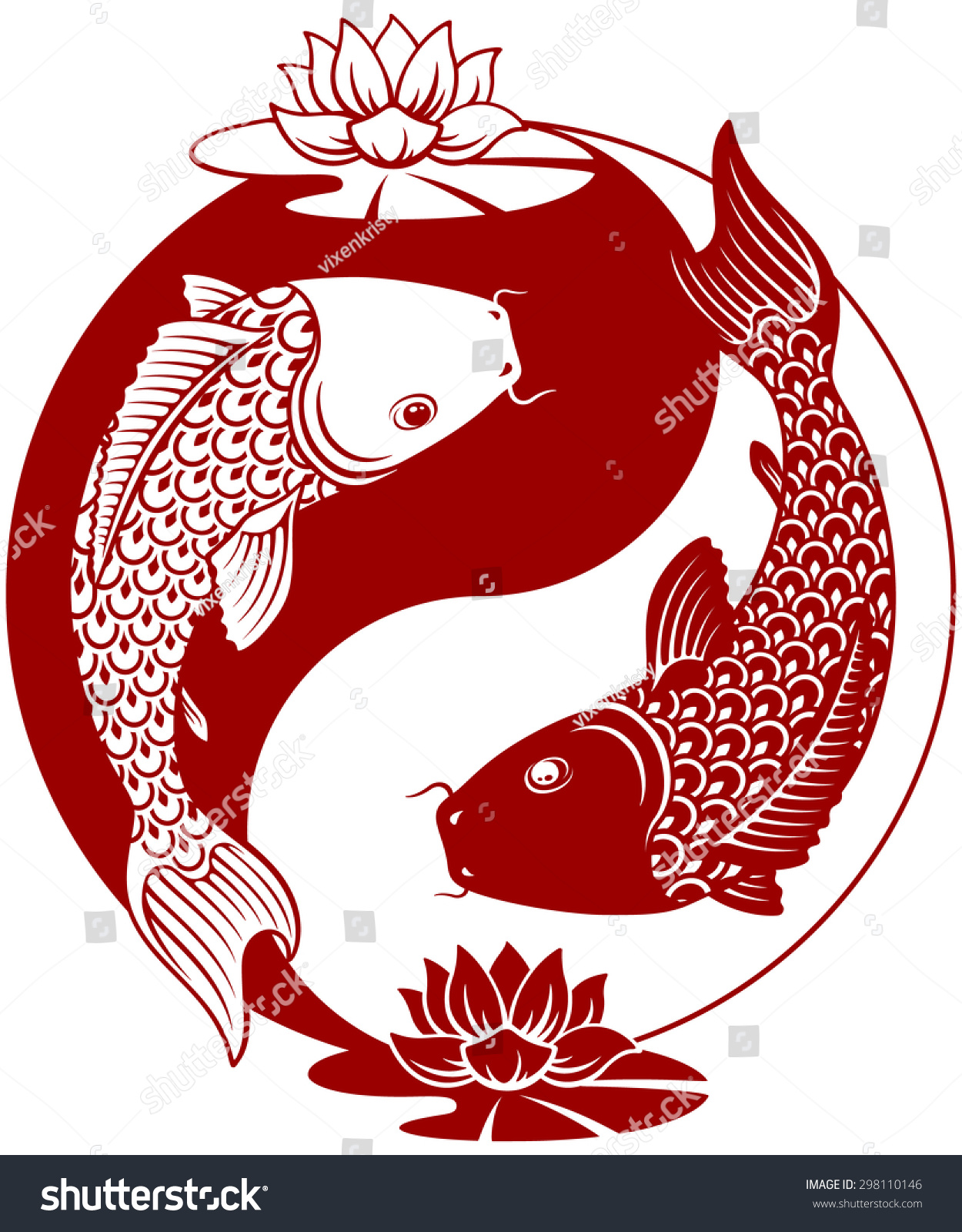 Koi yin yang symbol for Koi fish vector