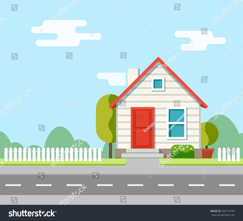 Town Landscape Vector Illustration: House Along Road Part Rural Landscape Stock Vector