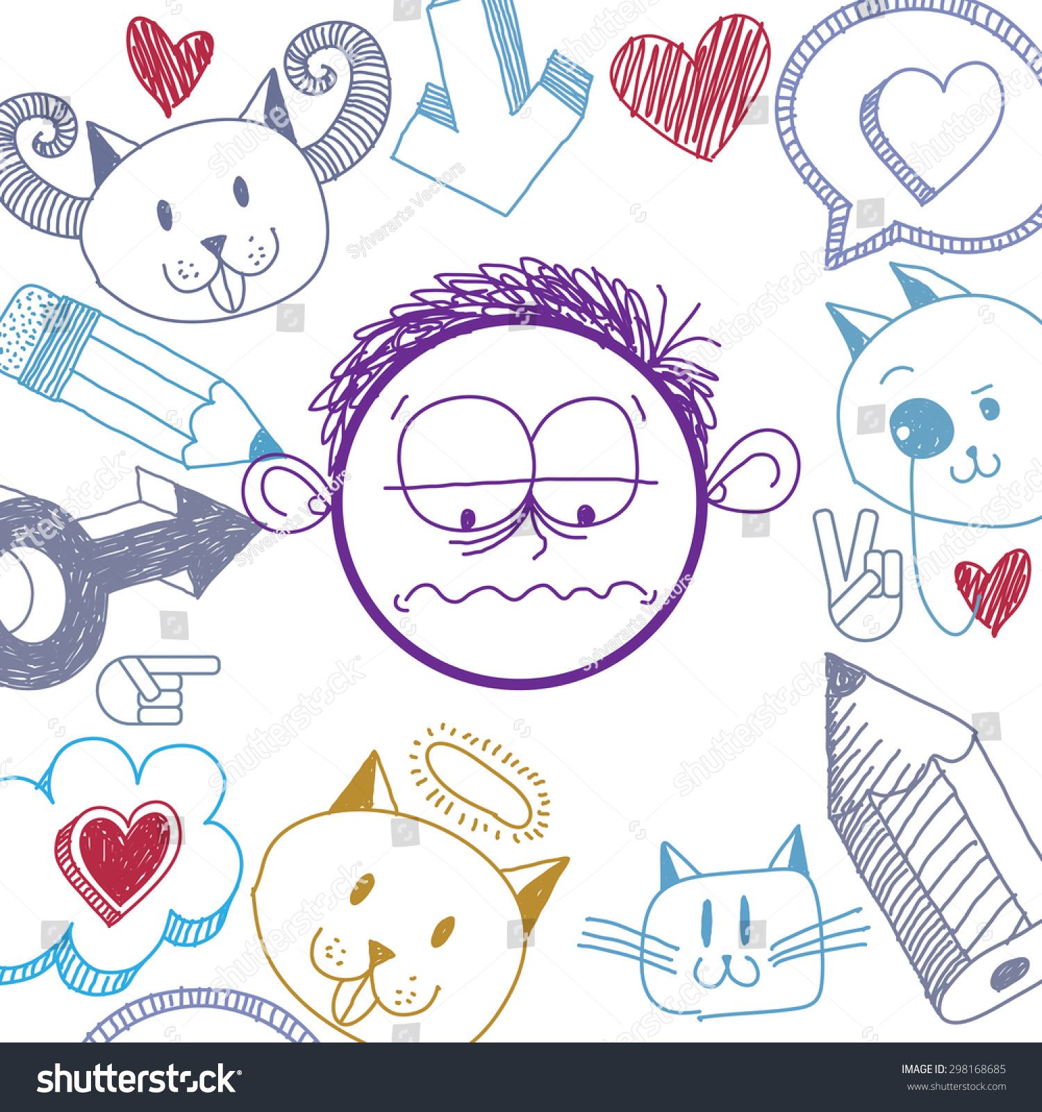 Vector hand drawn cartoon sad boy education theme graphic design elements isolated social conversation