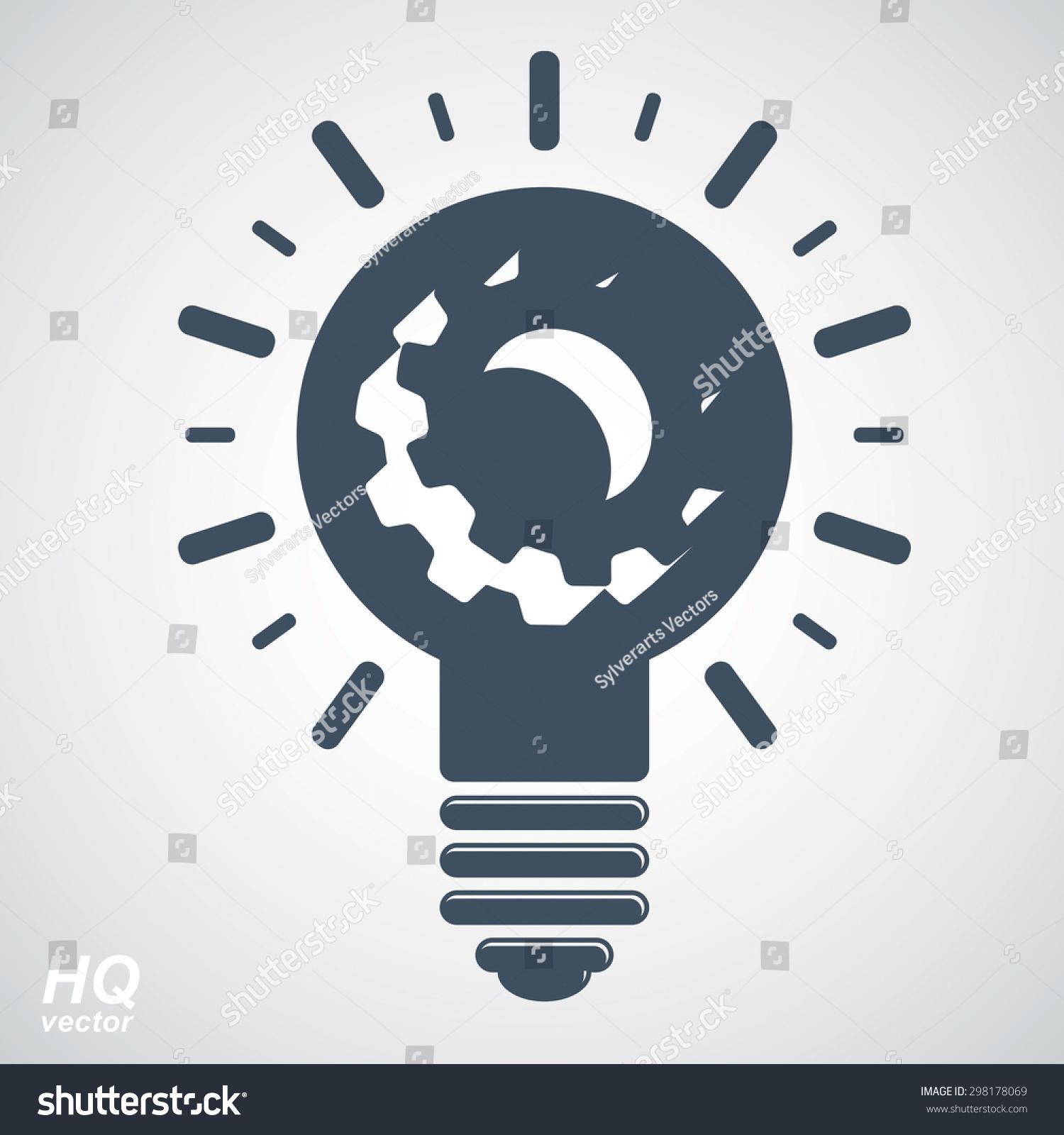 Incandescent simple black line light bulb icon symbol graphic. T ...