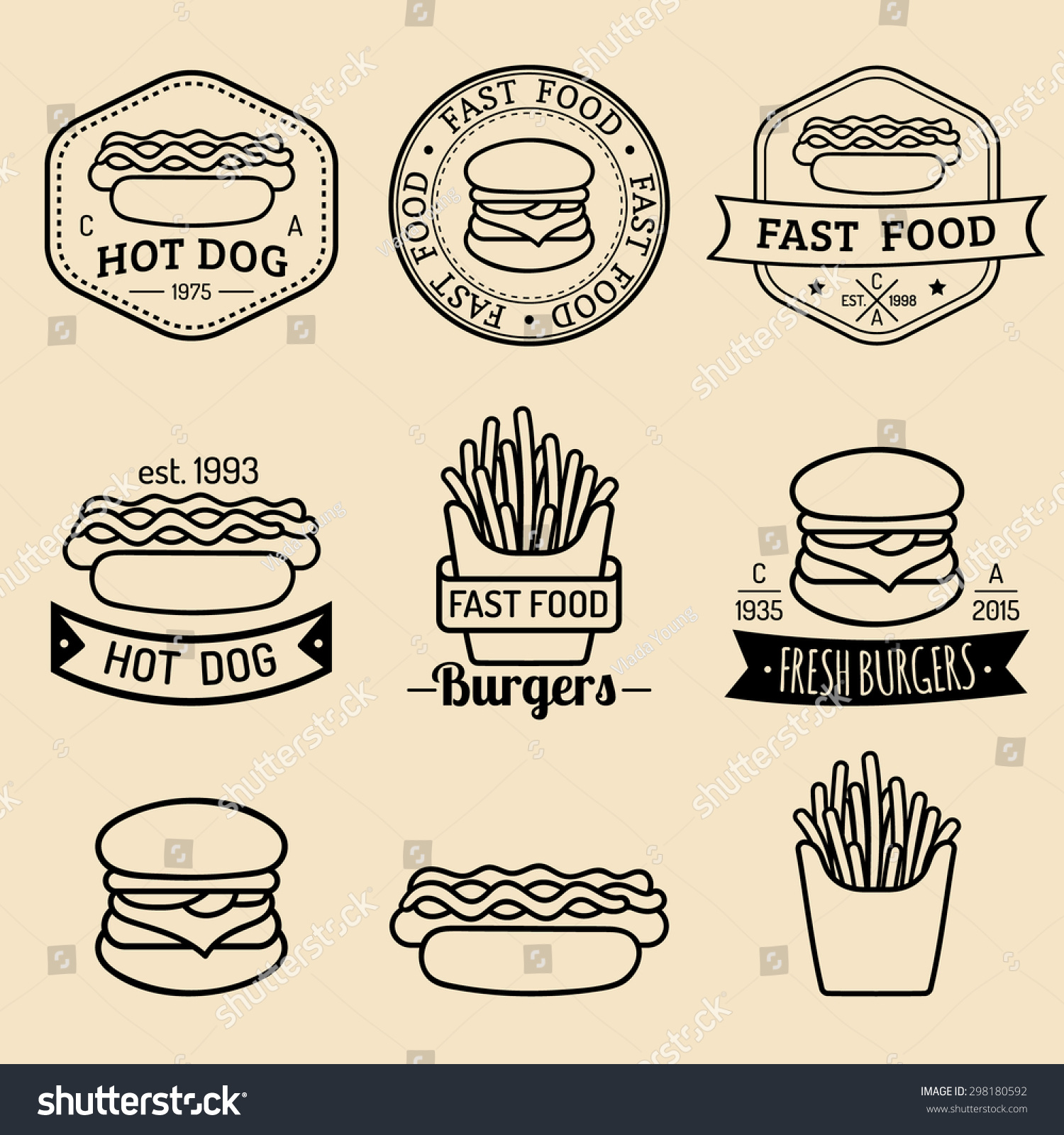 Vector Vintage Fast Food Logos Set Stock Vector (Royalty Free ...