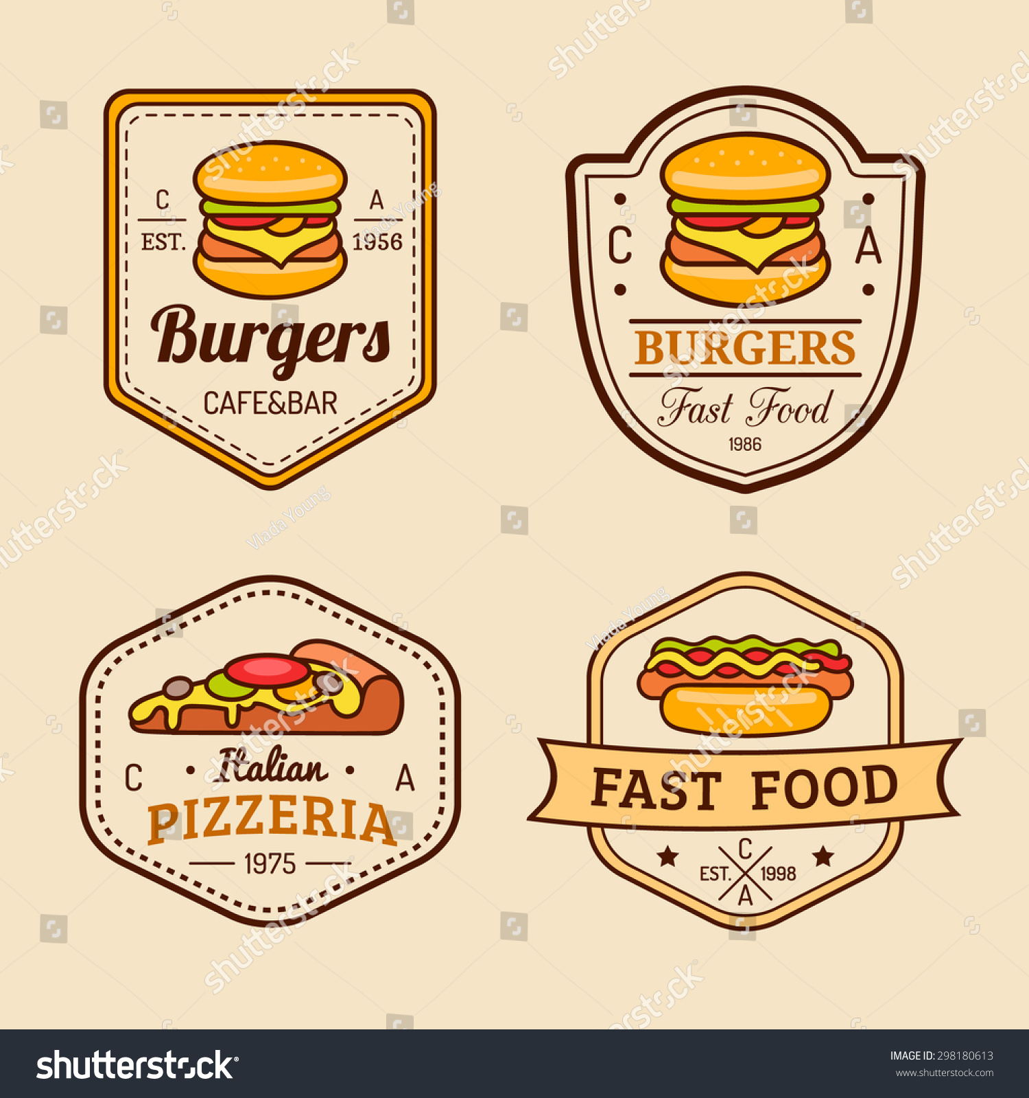 Vector Vintage Fast Food Logos Set Stock Vector Royalty Free 298180613