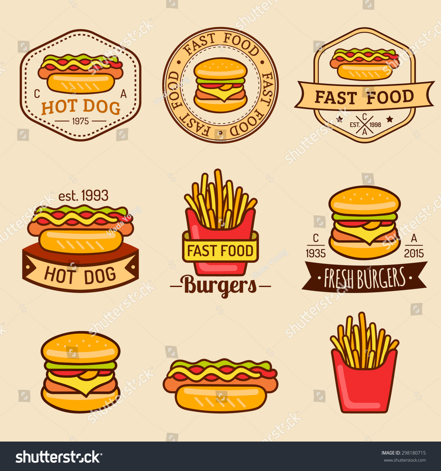 Vector Vintage Fast Food Logos Set Stock Vector 298180715 ...