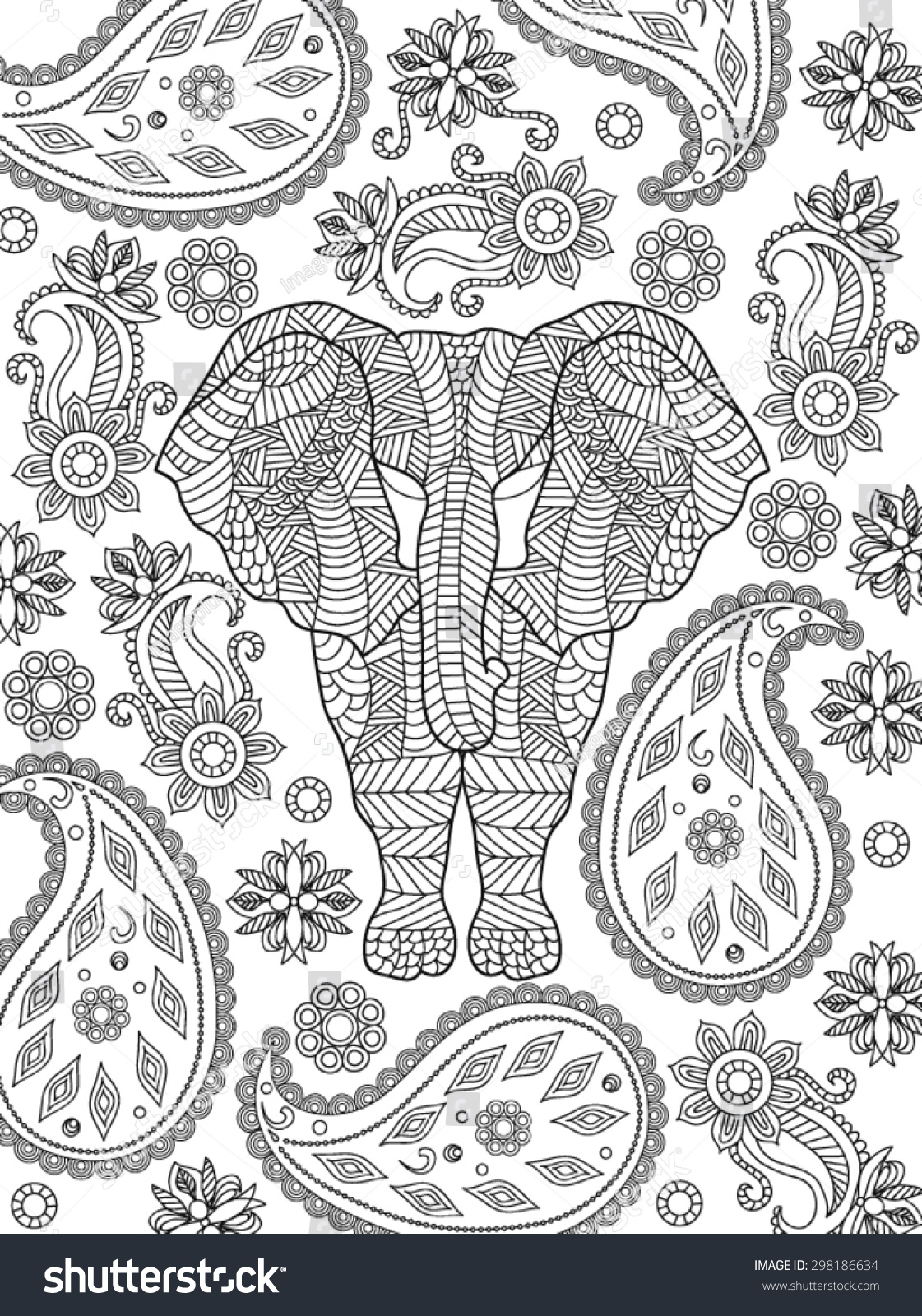 hand drawn elephant coloring page stock vector 298186634