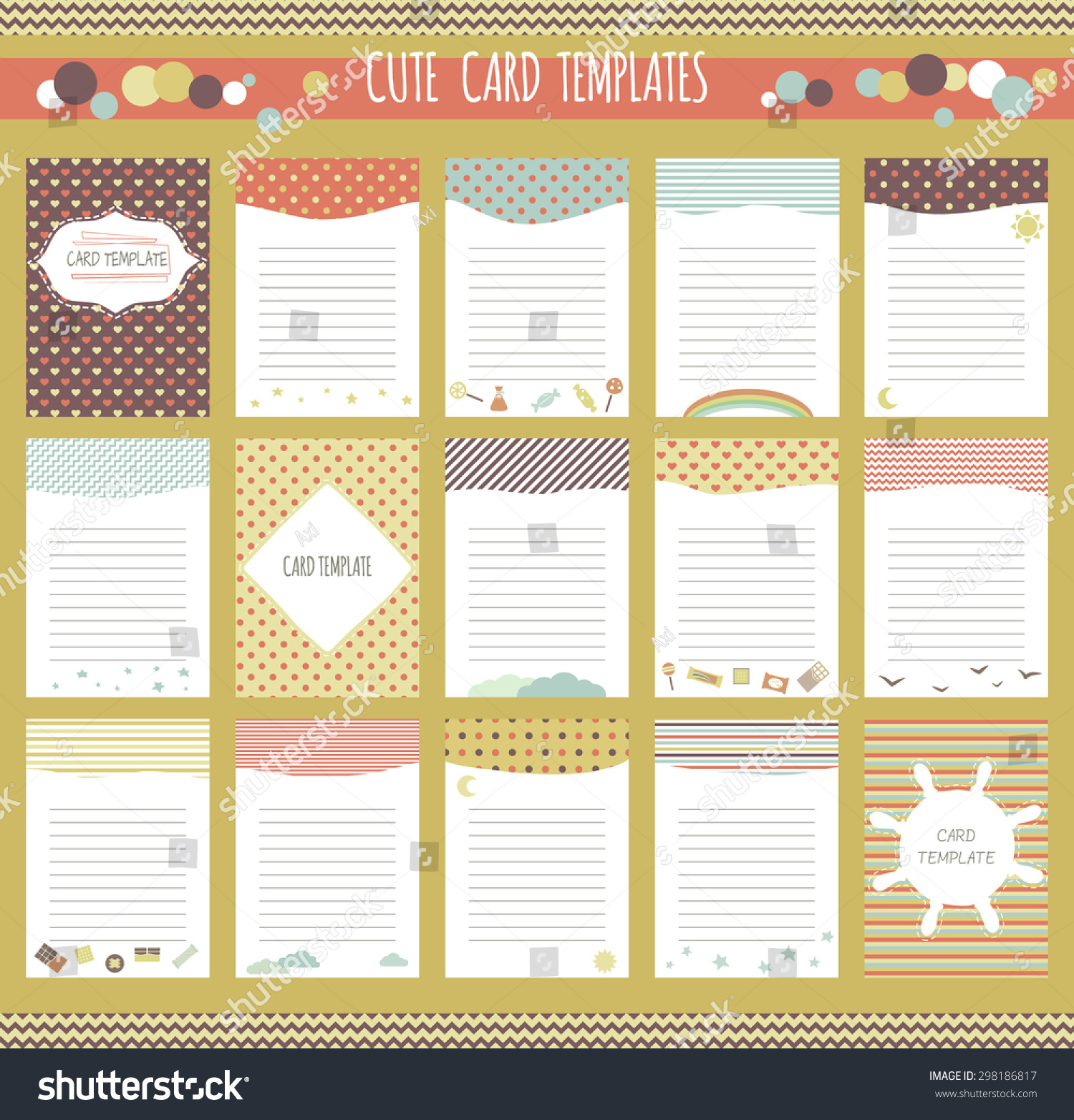 Vector Cute Cards Collection Scrapbook Templates Vector – Diary Paper Template