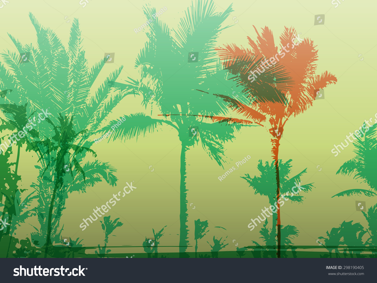 Colorful Background Silhouette Palm Trees On Stock Vector 298190405 ...
