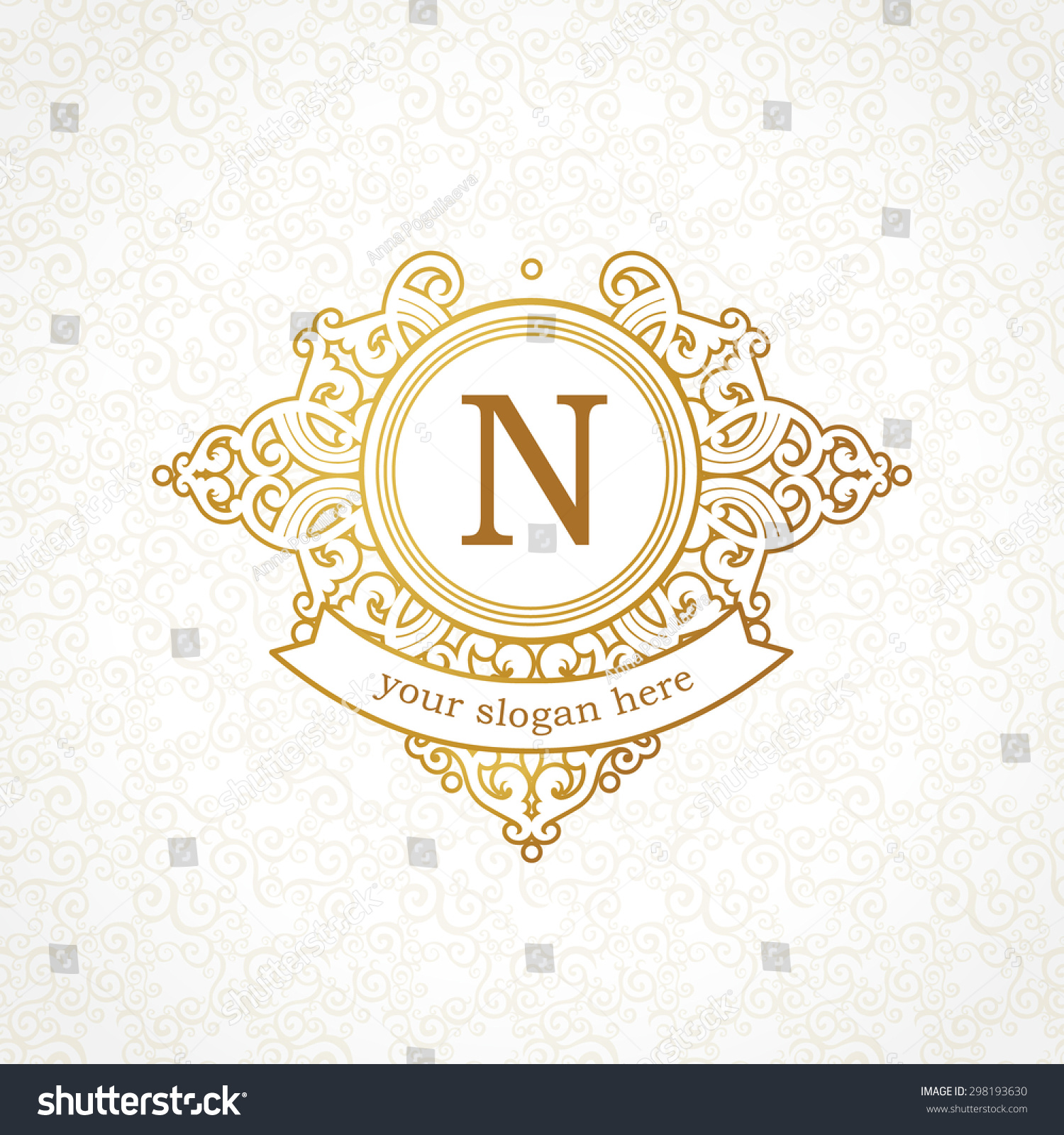 Vector Logo Template Victorian Style Ornate Stock Vector 298193630 ...