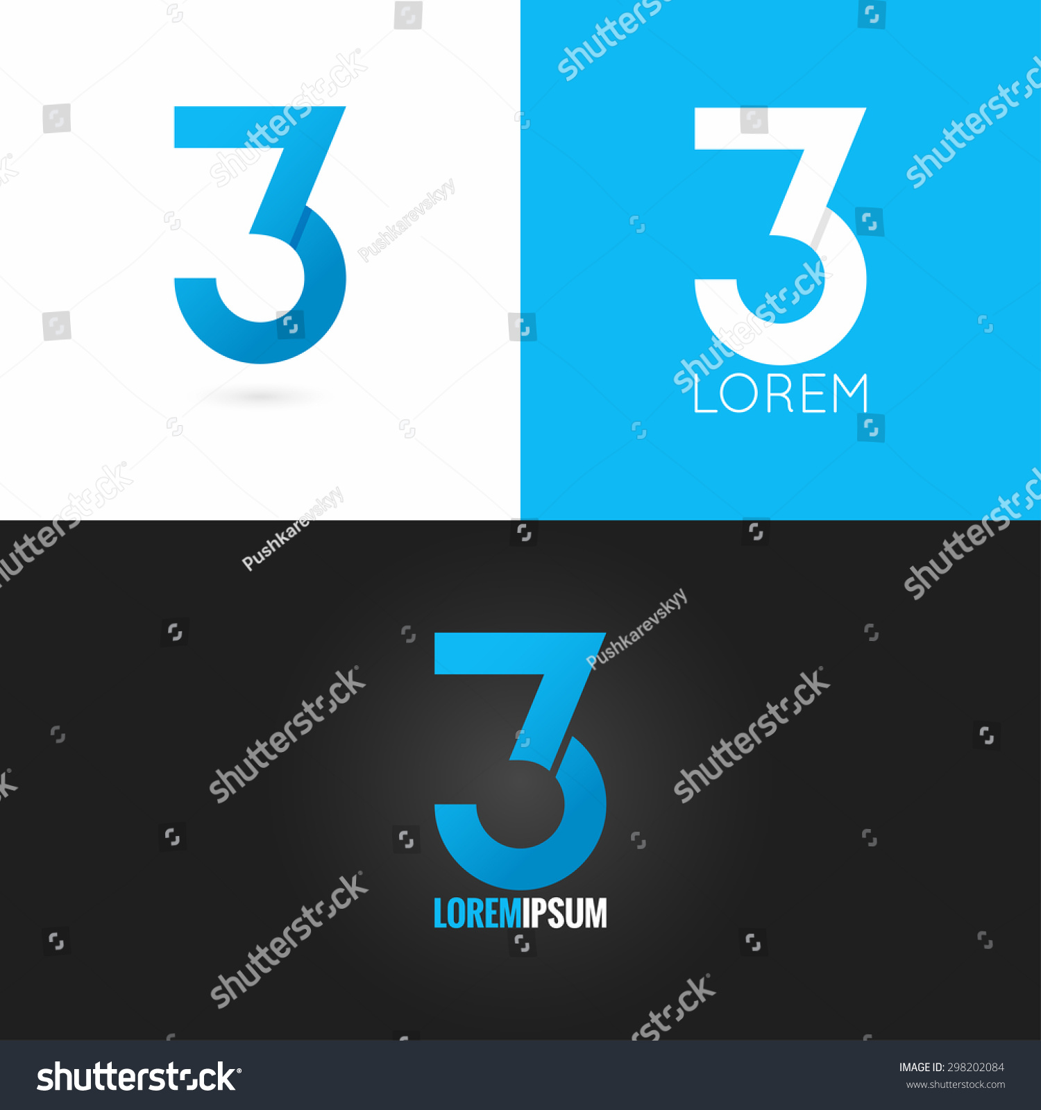 Number three 3 logo design icon vectores en stock for Blueprint number
