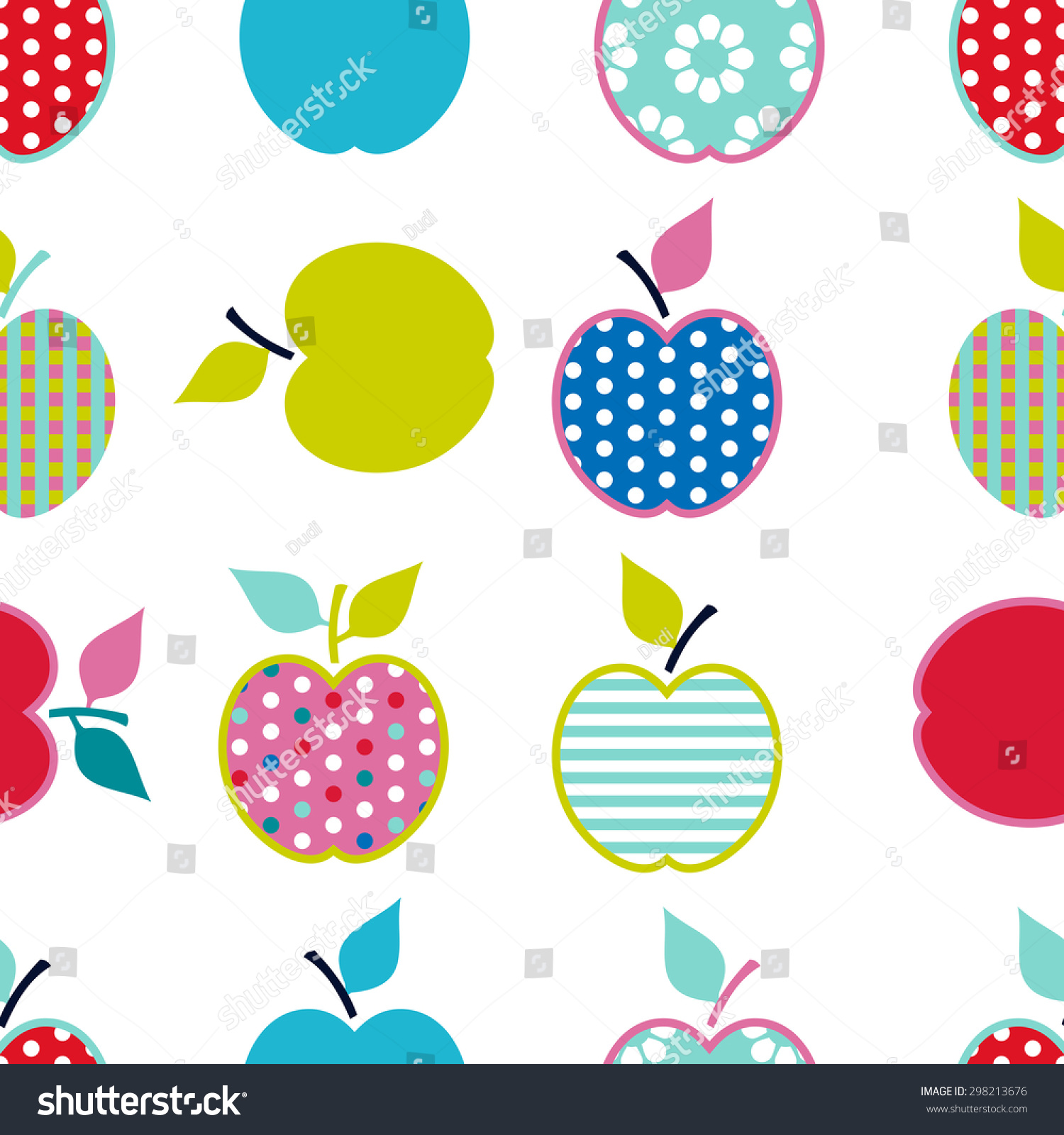 Baby and kids pattern with apples vector cute background for Kids pattern fabric