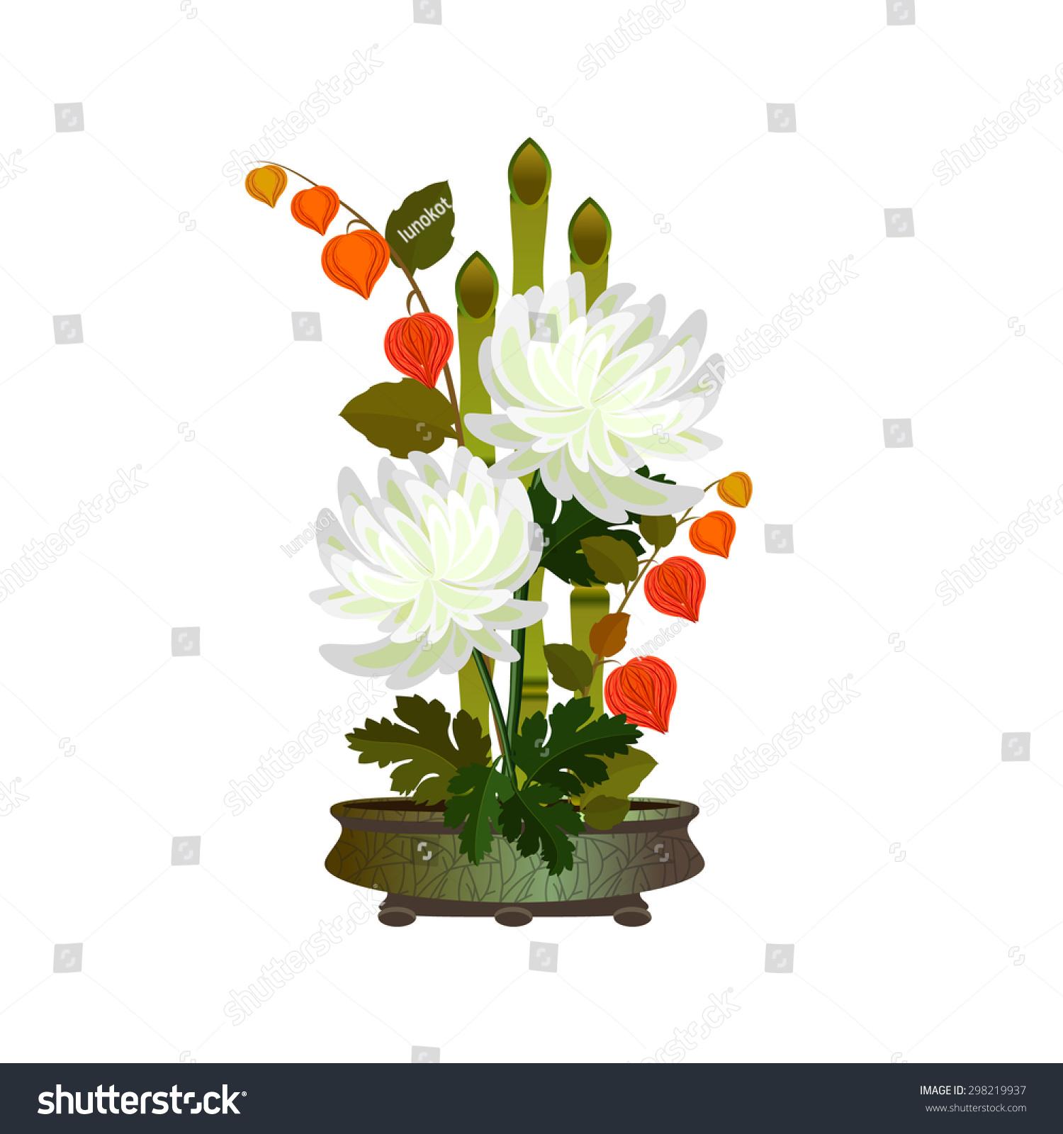 Ikebana Bamboo Chrysanthemums Arrangement White Autumn Stock Vector