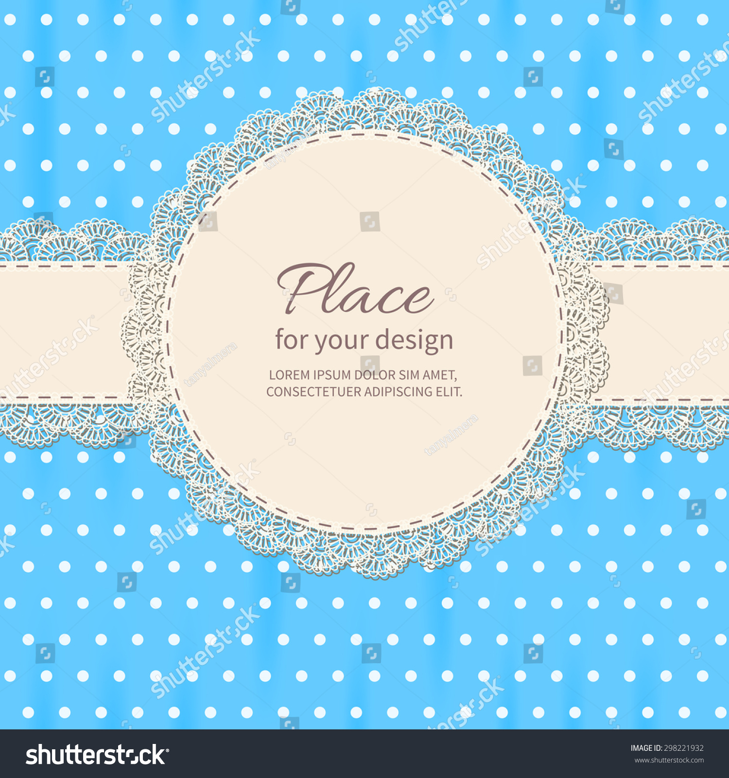 Retro Background Lace Polkadot Wallpaperbaby Shower Stock Vector