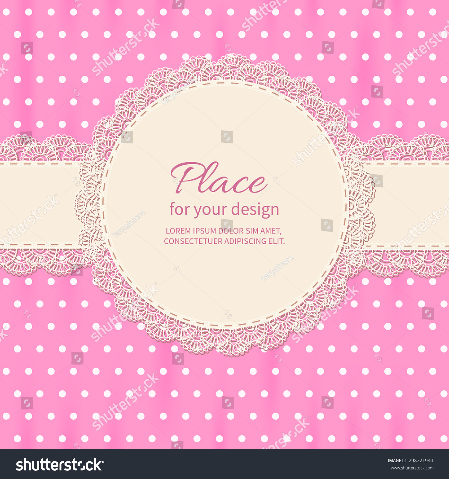 Retro Background With Lace And Polka Dot Wallpaper.Baby Shower Frame.