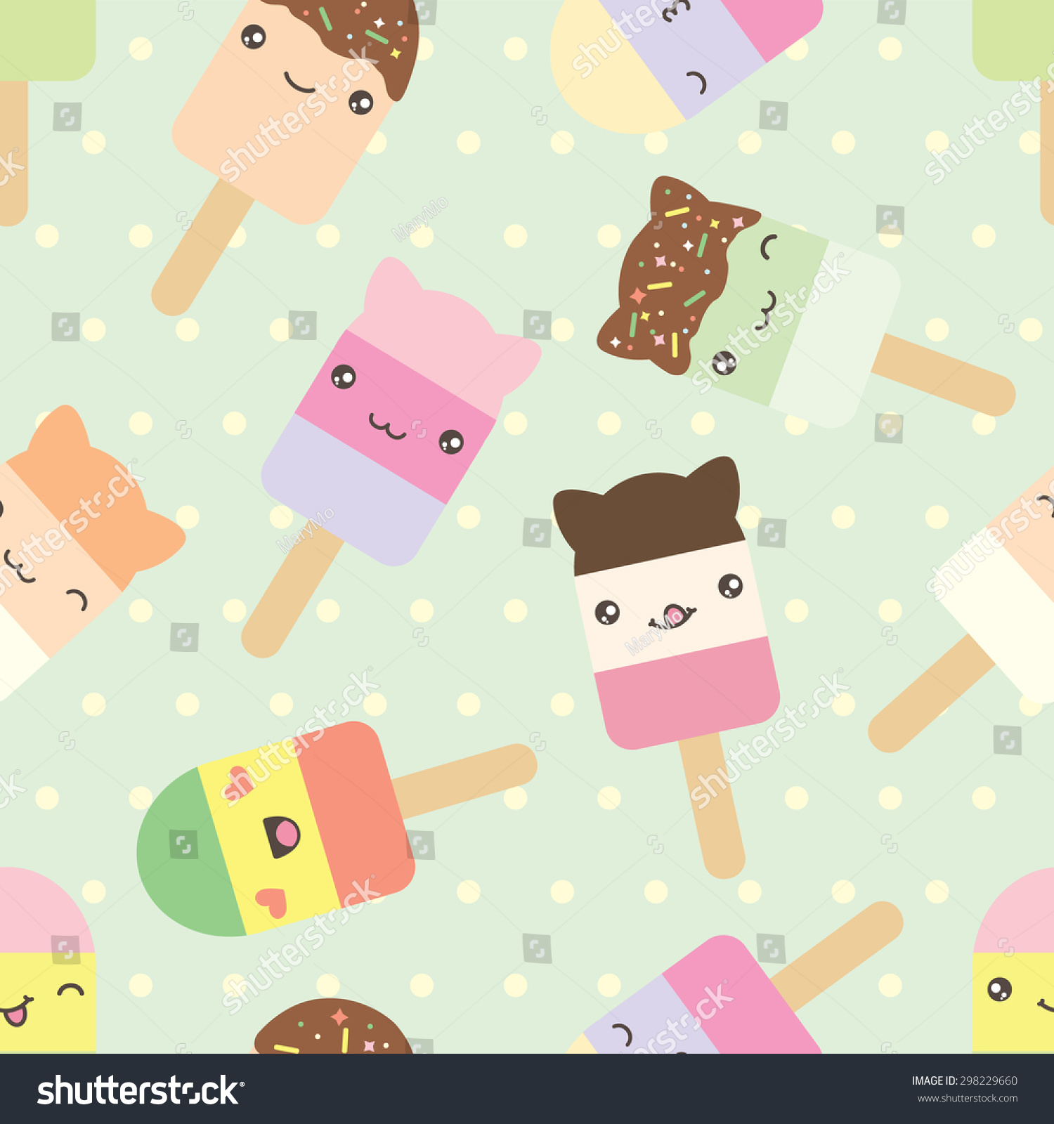 Cute Colorful Ice Cream Seamless Pattern Background: Seamless Pattern Cute Kawaii Style Ice Stock Vector