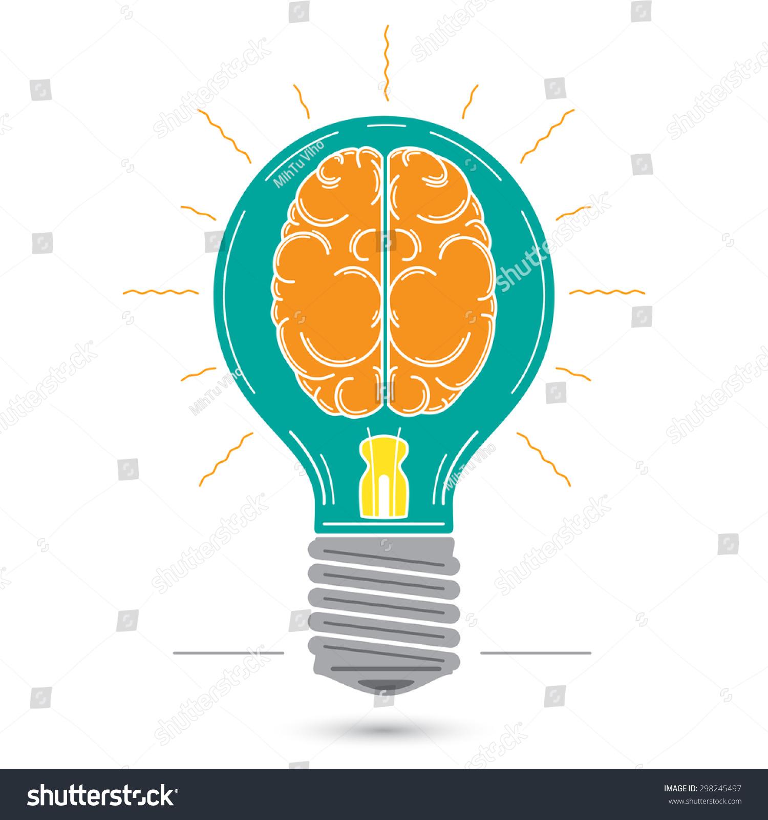 Vector Graphic Image Bulb Human Brain Stock Vector 298245497 ...