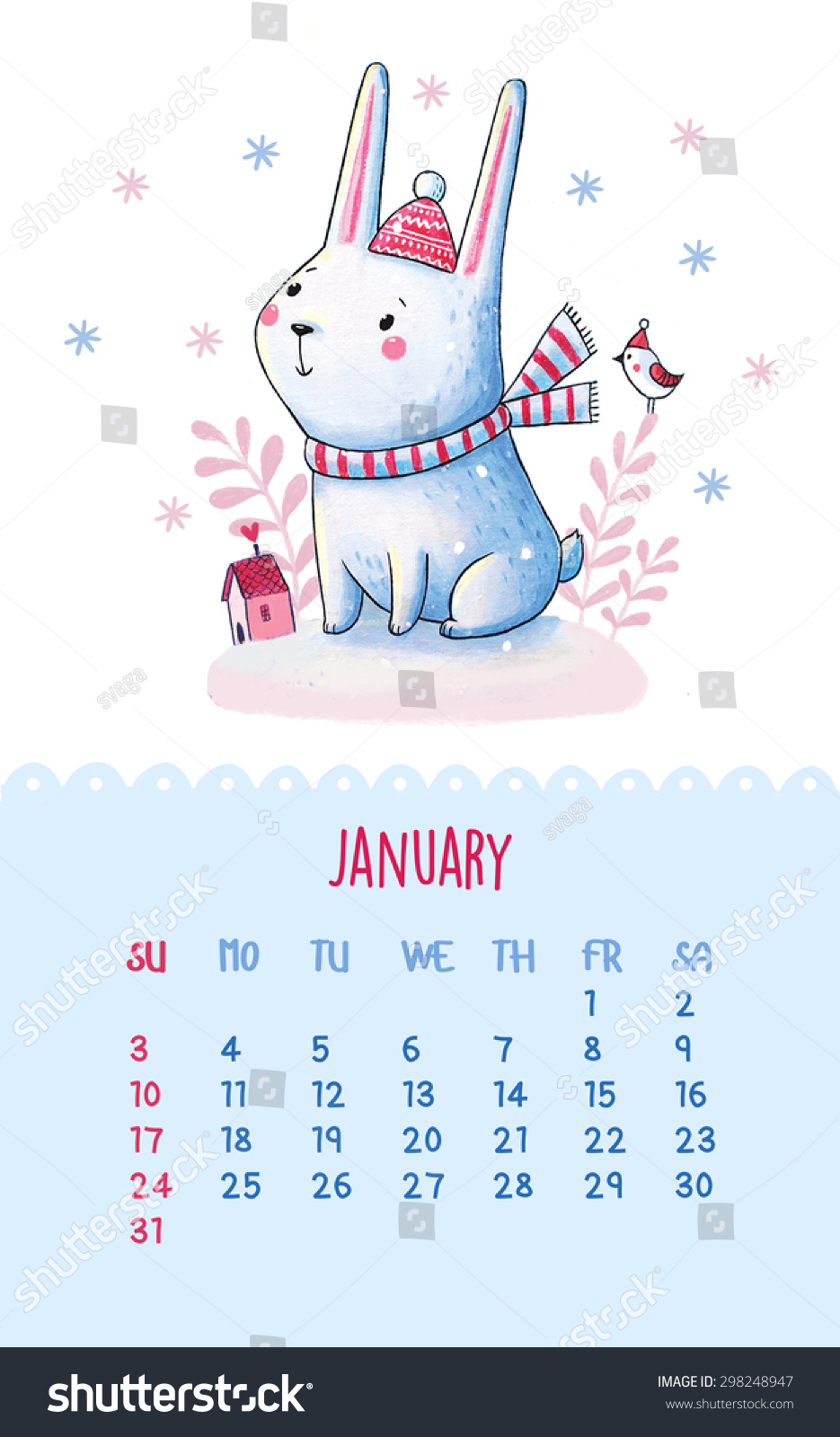 Calendar Drawing Cartoon : Calendar january hand drawing illustration with