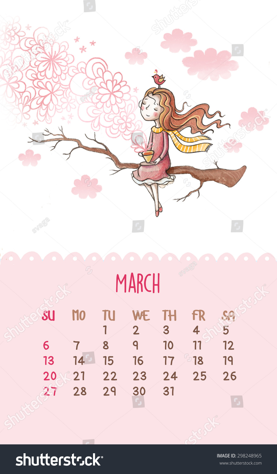Cute Calendar Illustration : Cute calendar cartoon hand drawing stock illustration