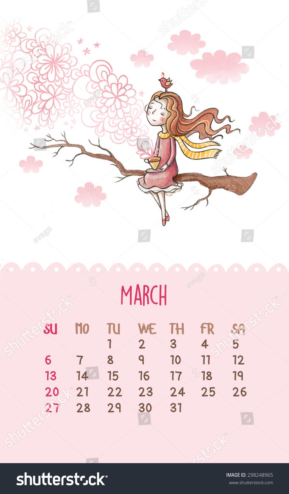 Cute Calendar 2016 Cartoon Hand Drawing Stock Illustration 298248965