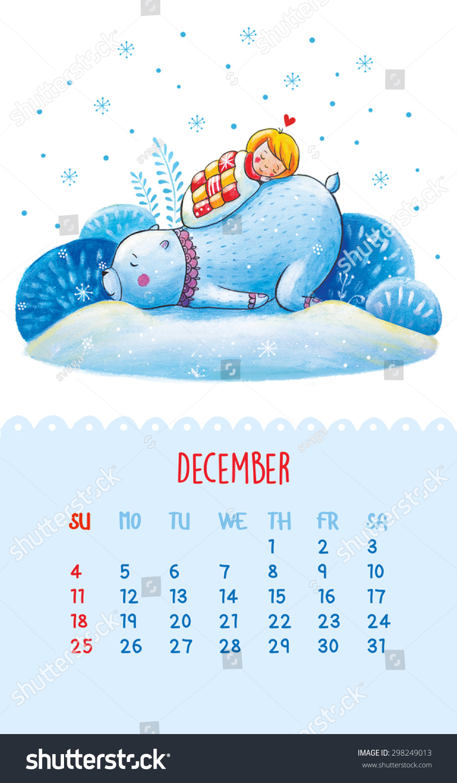 Calendar Drawing Cartoon : Cute calendar for with hand drawing illustration