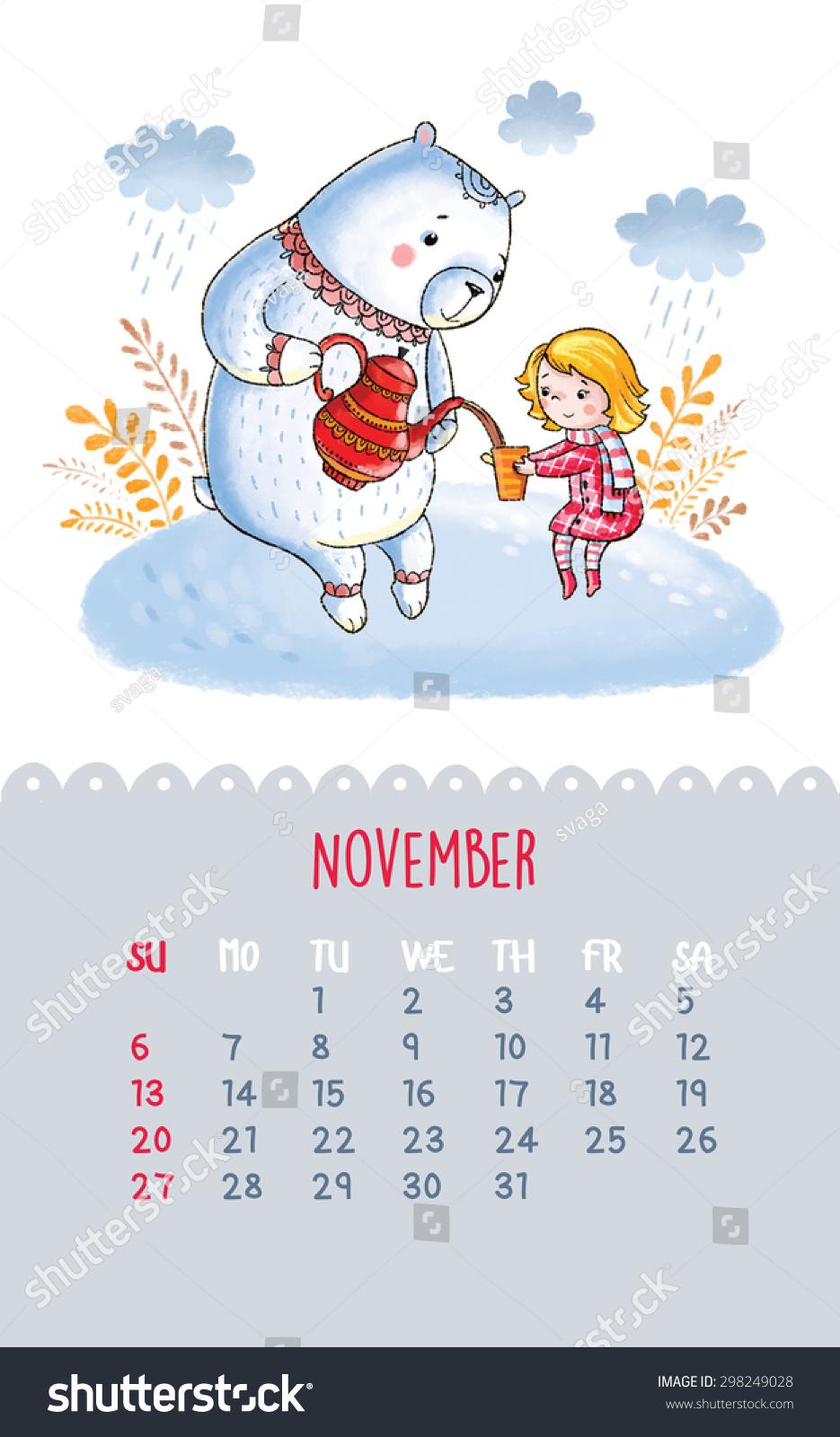Calendar Drawing Cartoon : Cute november calendar clip art cliparts