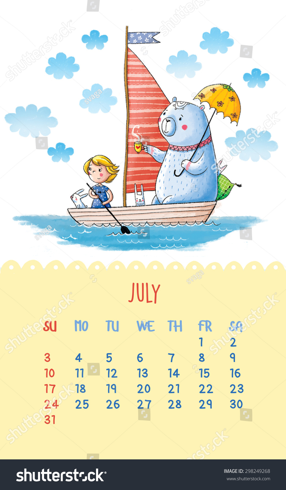 Calendar Illustration Yahoo : Cute calendar for with hand drawing illustration