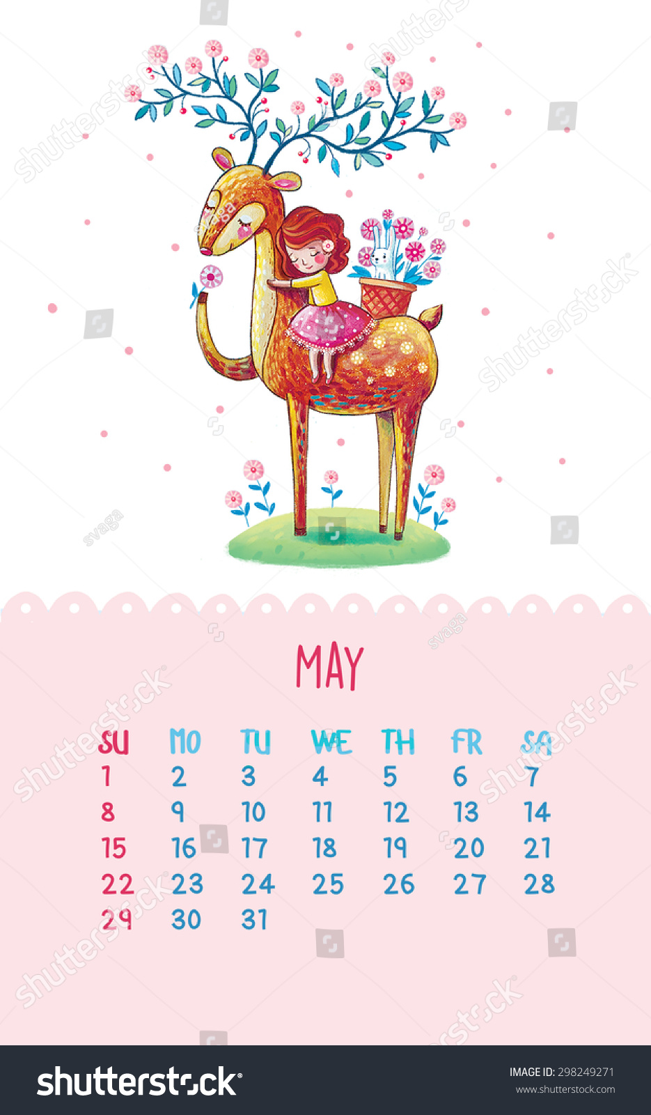 Cute Calendar Illustration : Cute calendar for with hand drawing illustration may