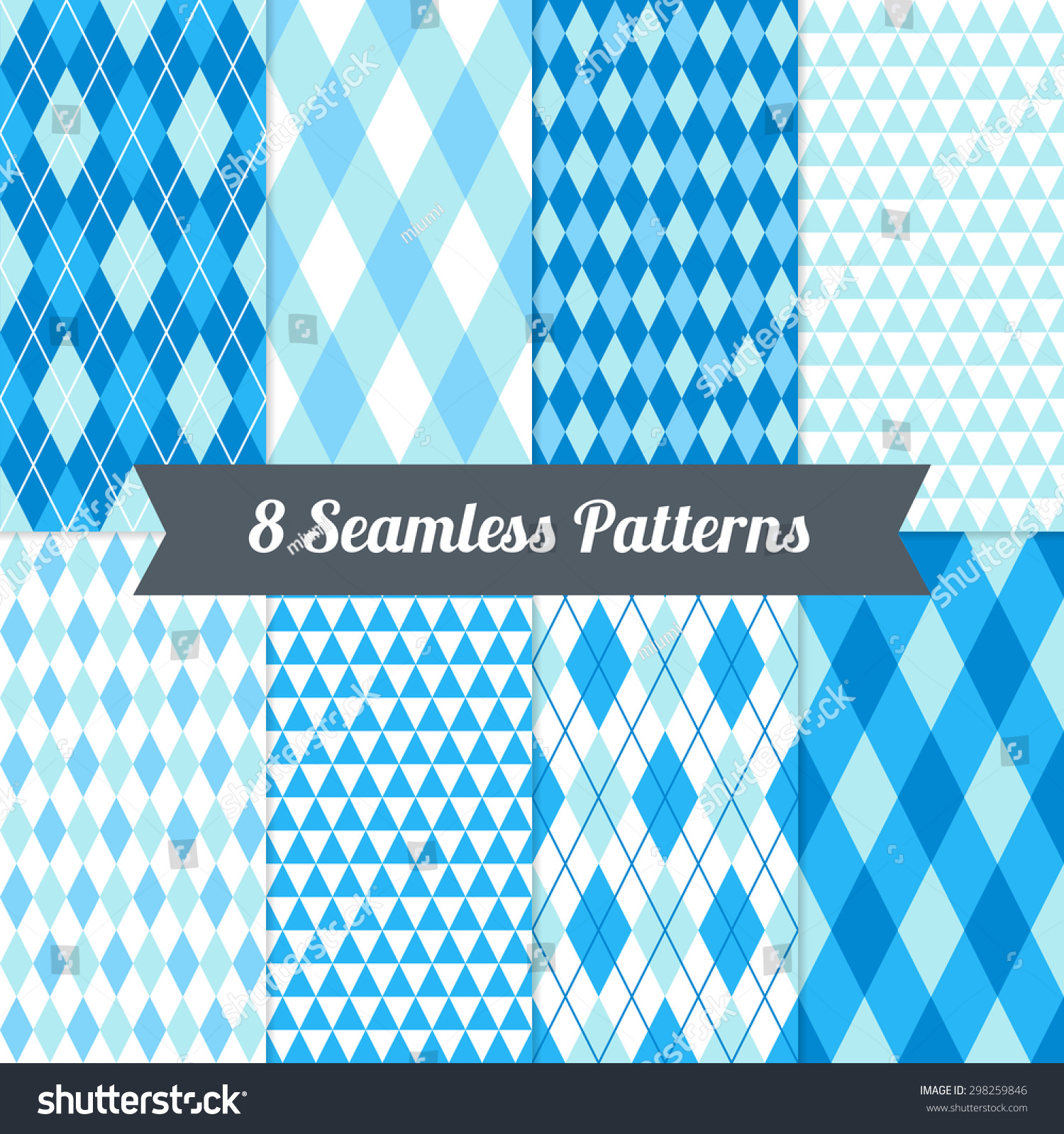 Pics photos merry christmas argyle twitter backgrounds - Set Of Triangles Argyle And Harlequin Seamless Patterns In Blue Light Blue Cyan