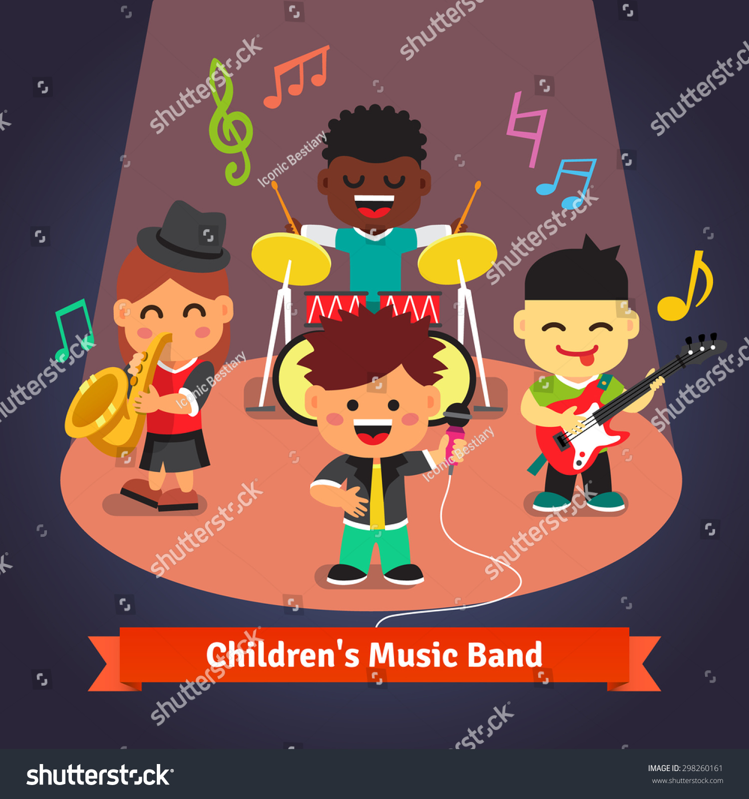kids music band playing singing spotlight stock vector
