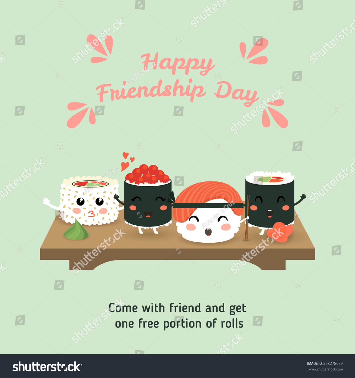 Happy Friendship Day Vector Illustration Cute Stock Vector