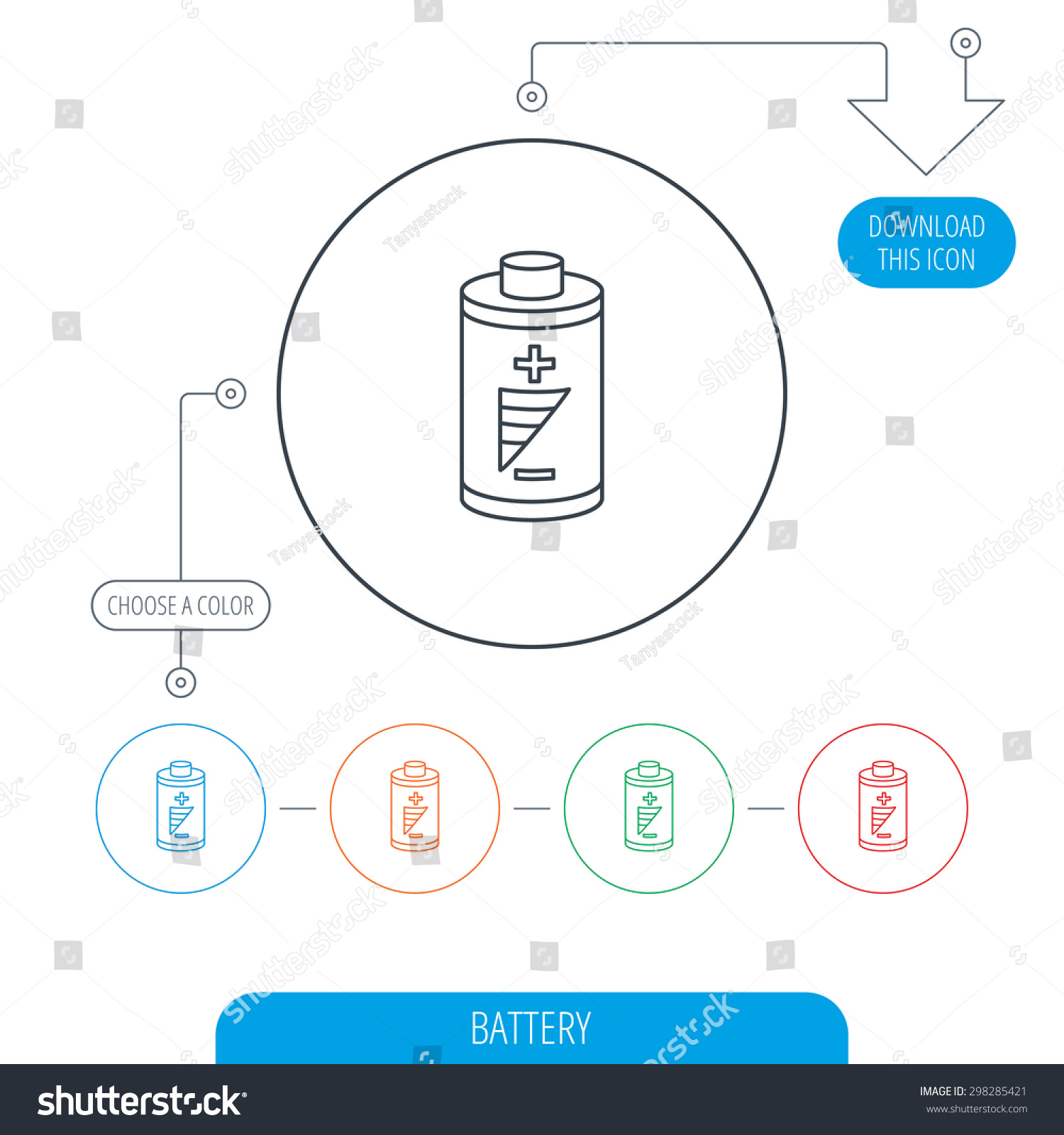 Battery Icon Electrical Power Sign Rechargeable Stock Vector