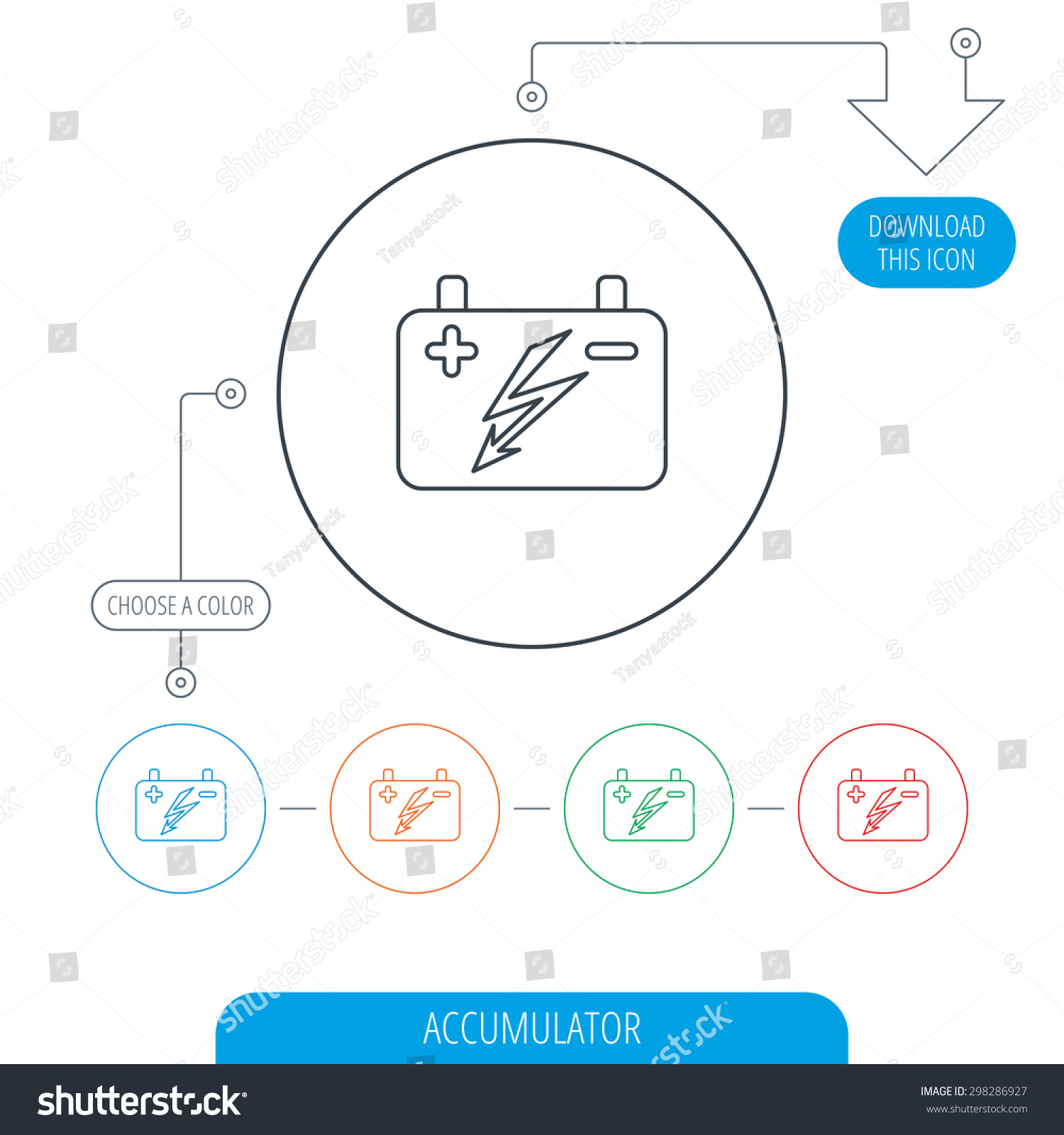 Accumulator Icon Electrical Battery Sign Line Stock Vector 298286927 ...