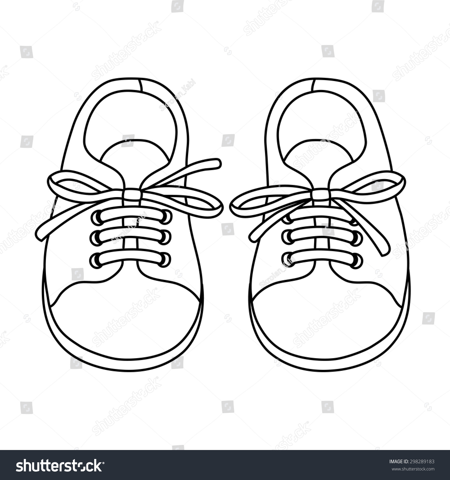 Hand Drawn Pair Kids Shoes Can Stock Vector 298289183 ...