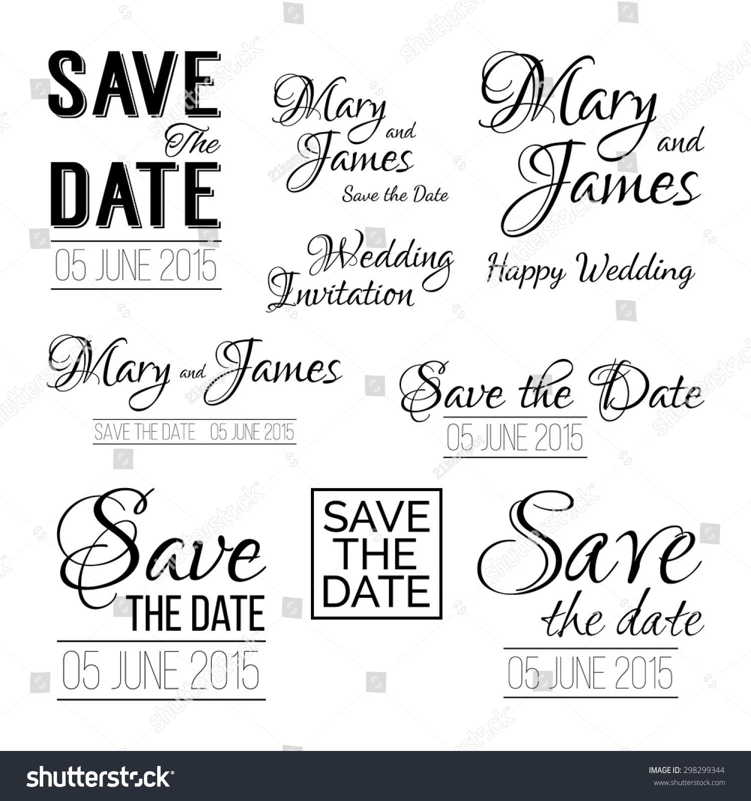 Save Date Logos Set Wedding Invitation Stock Vector 298299344