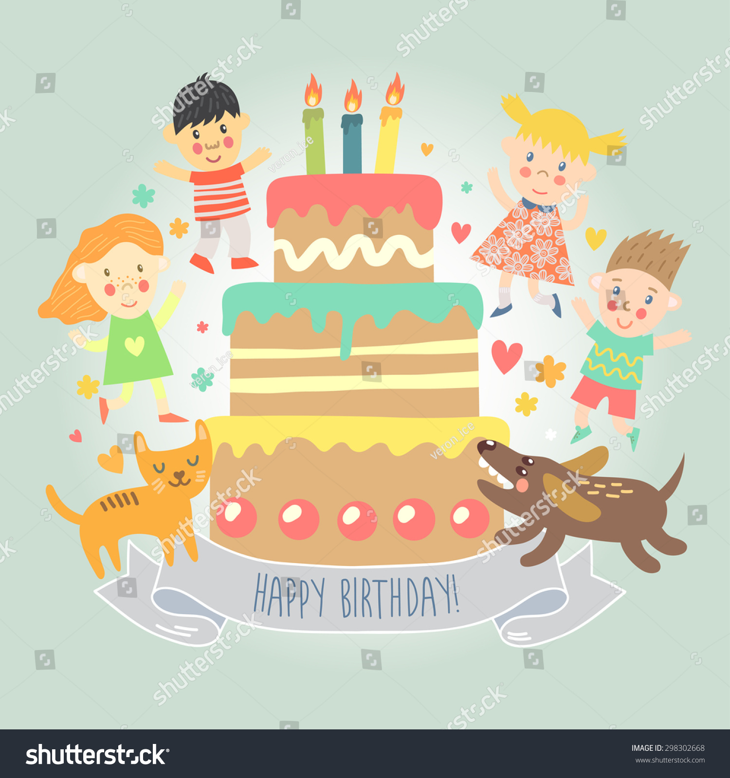 Happy Birthday Greeting Card Kids Cat Stock Vector