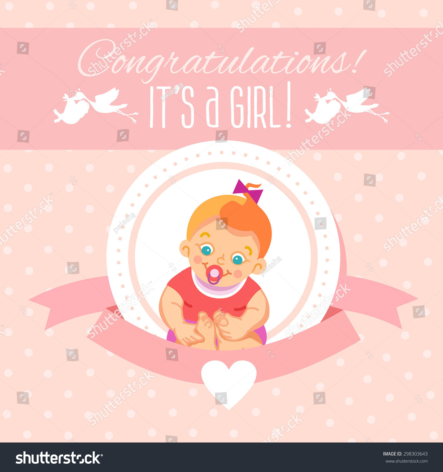 Cute Cartoon Design Template Baby Showerits Stock Vector