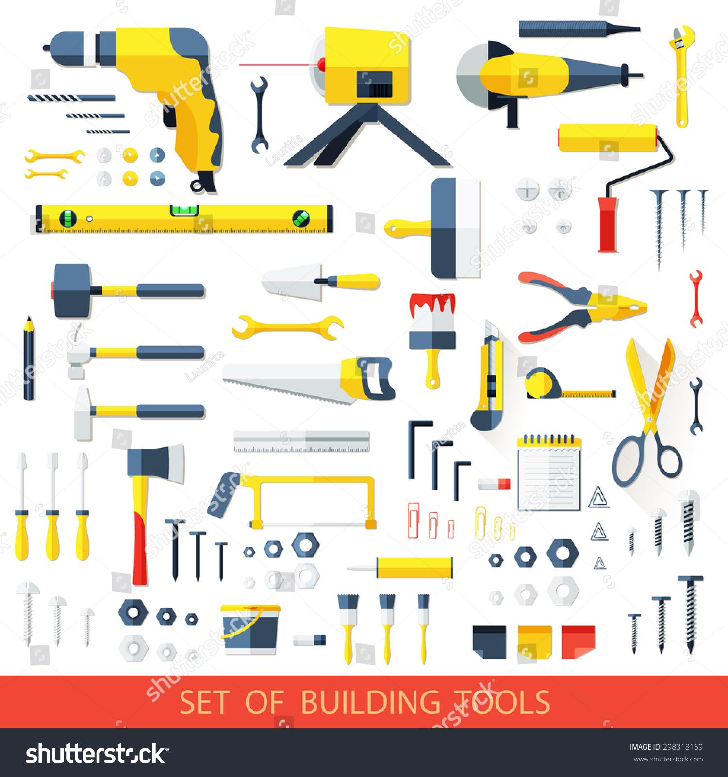 big set construction tools vector drill stock vector 298318169