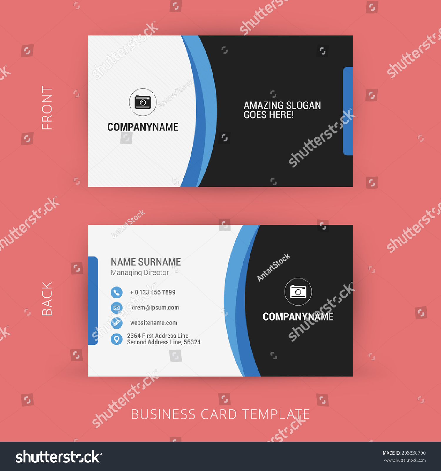 Creative clean business card template black stock vector 298330790 creative and clean business card template black and blue colors colourmoves