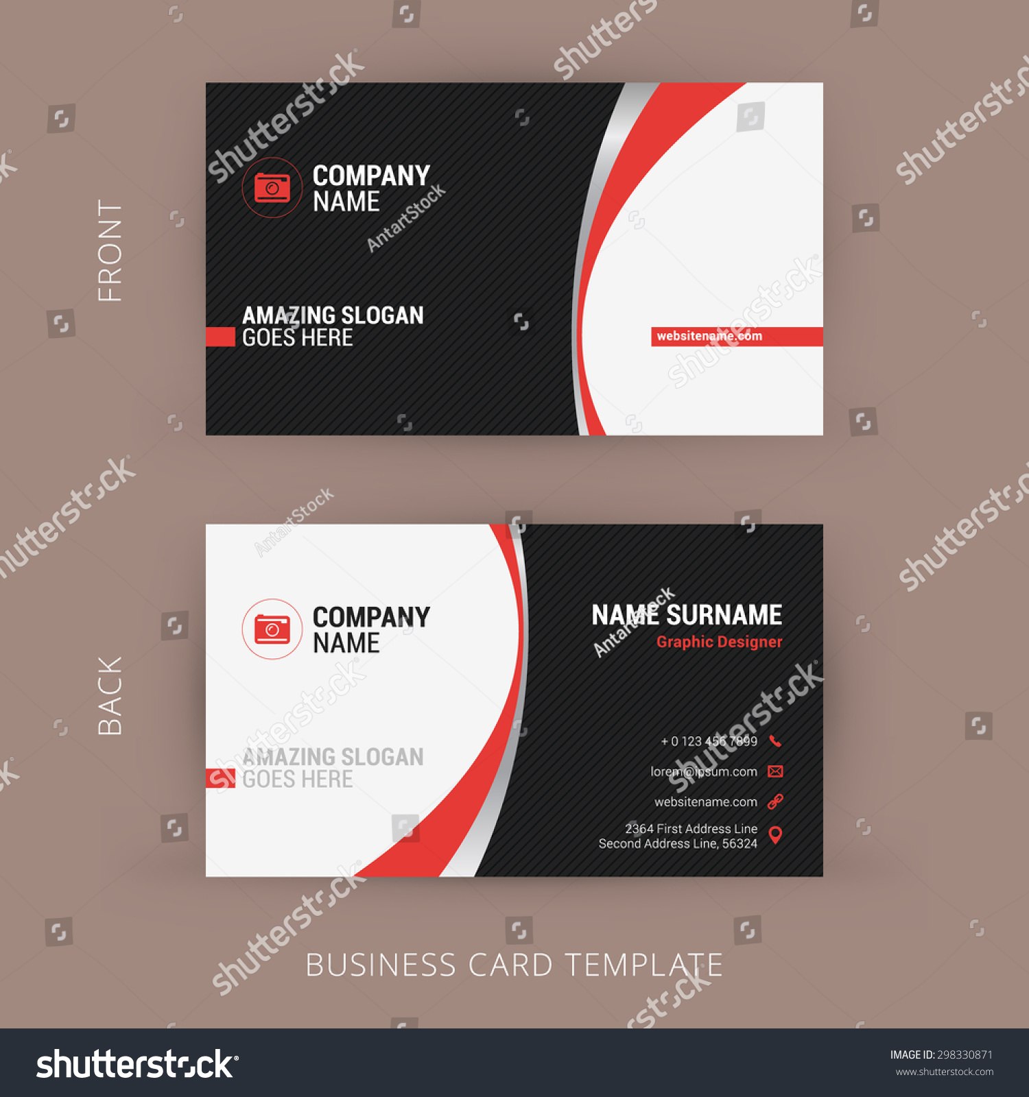Creative Clean Business Card Template Black Stock Vector 298330871 ...