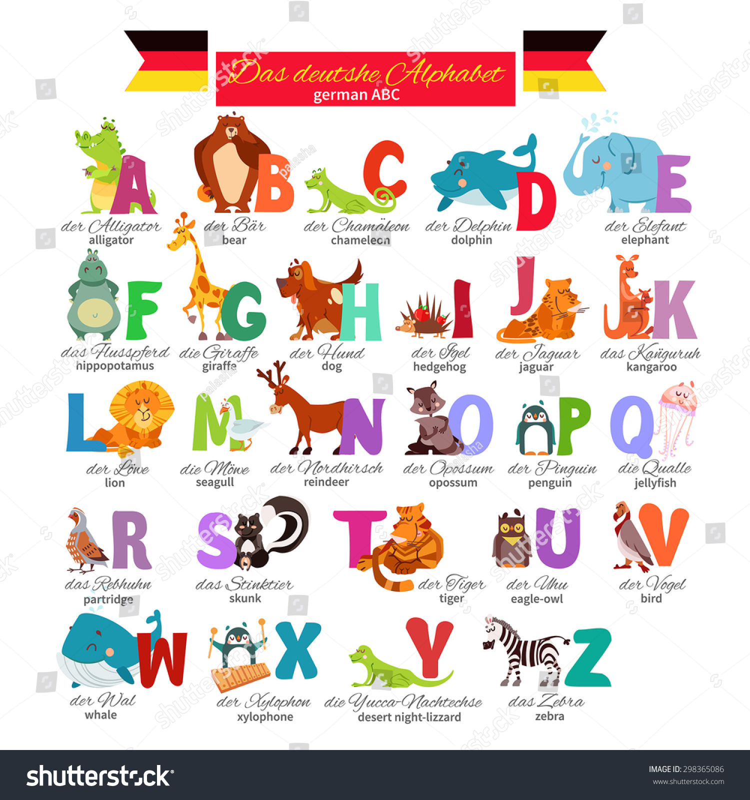 Image of: Birds German Illustrated Zoo Alphabet With Cute Cartoon Animals Vector Illustration For Education Foreign Language Shutterstock German Illustrated Zoo Alphabet Cute Cartoon Stock Vector royalty