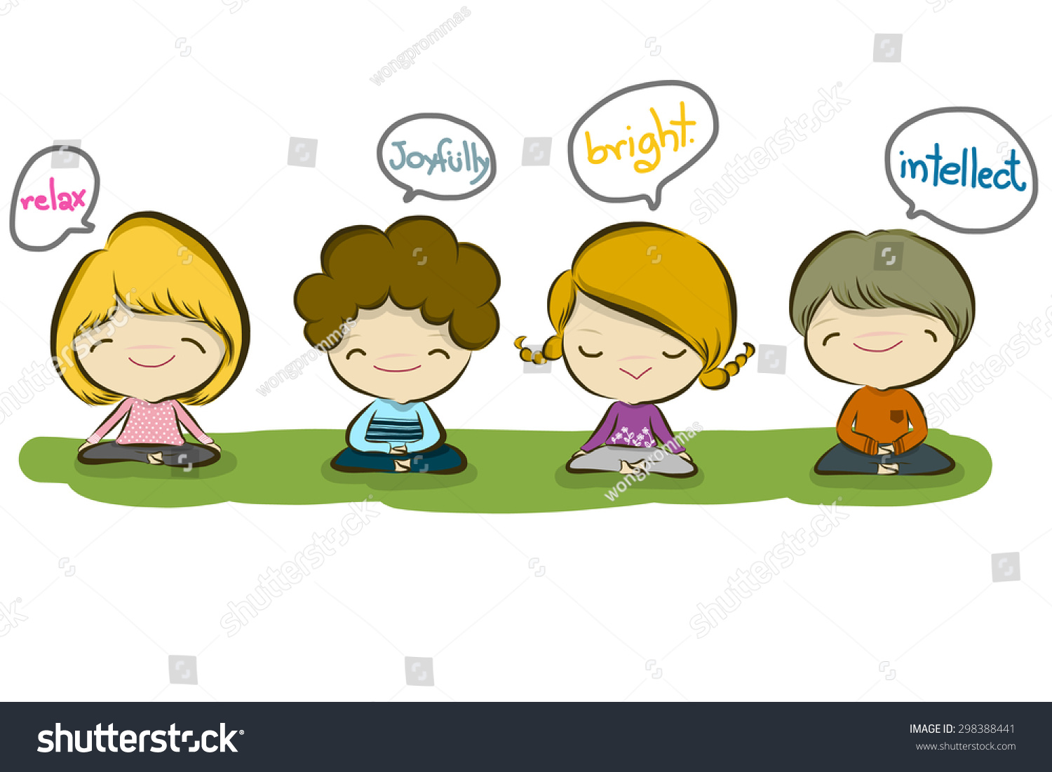 vector illustration of cute meditation kid cartoon drawing style