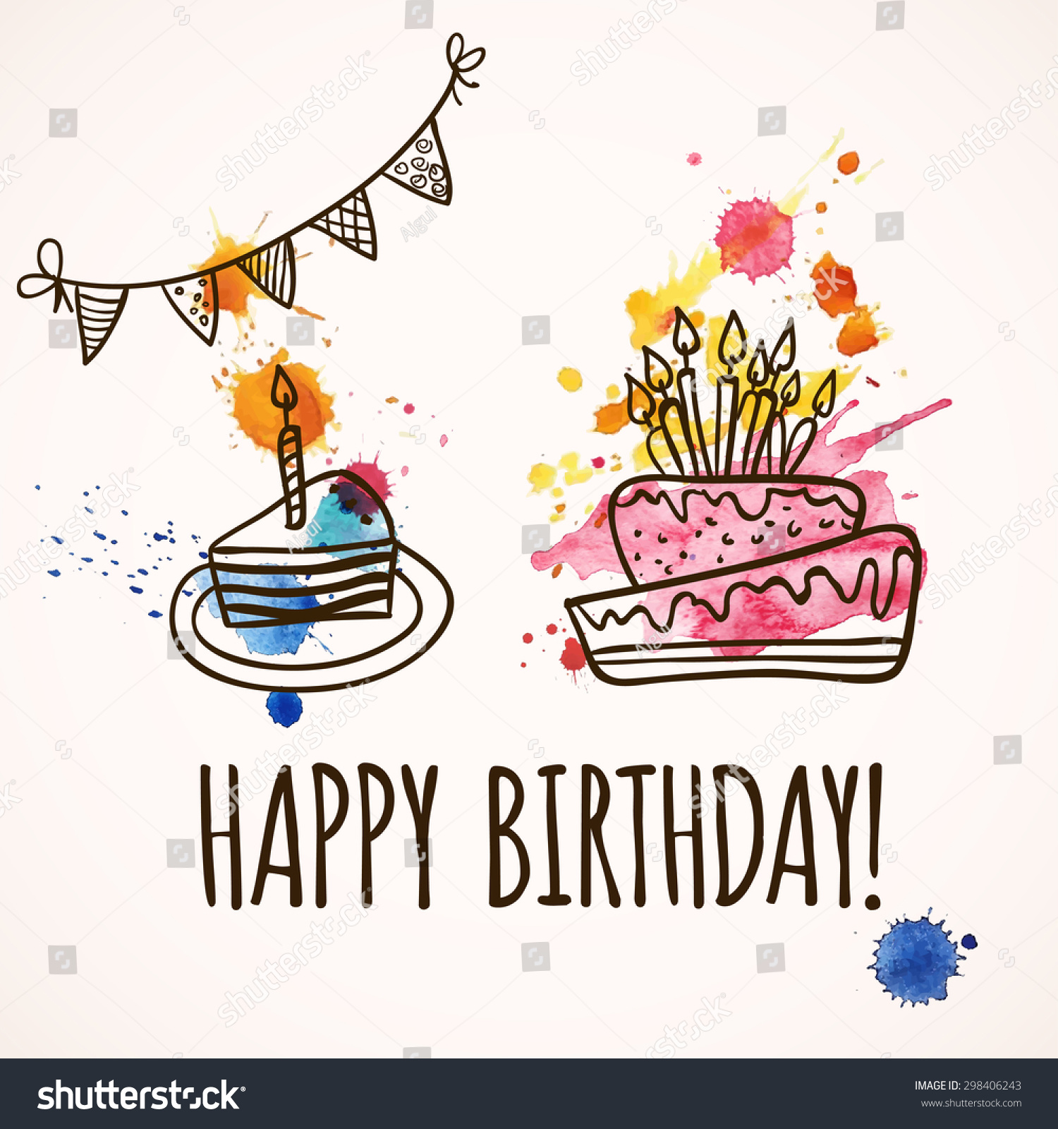 Happy Birthday Illustration Font ~ Happy birthday card with doodle hand drawn cake vector illustration