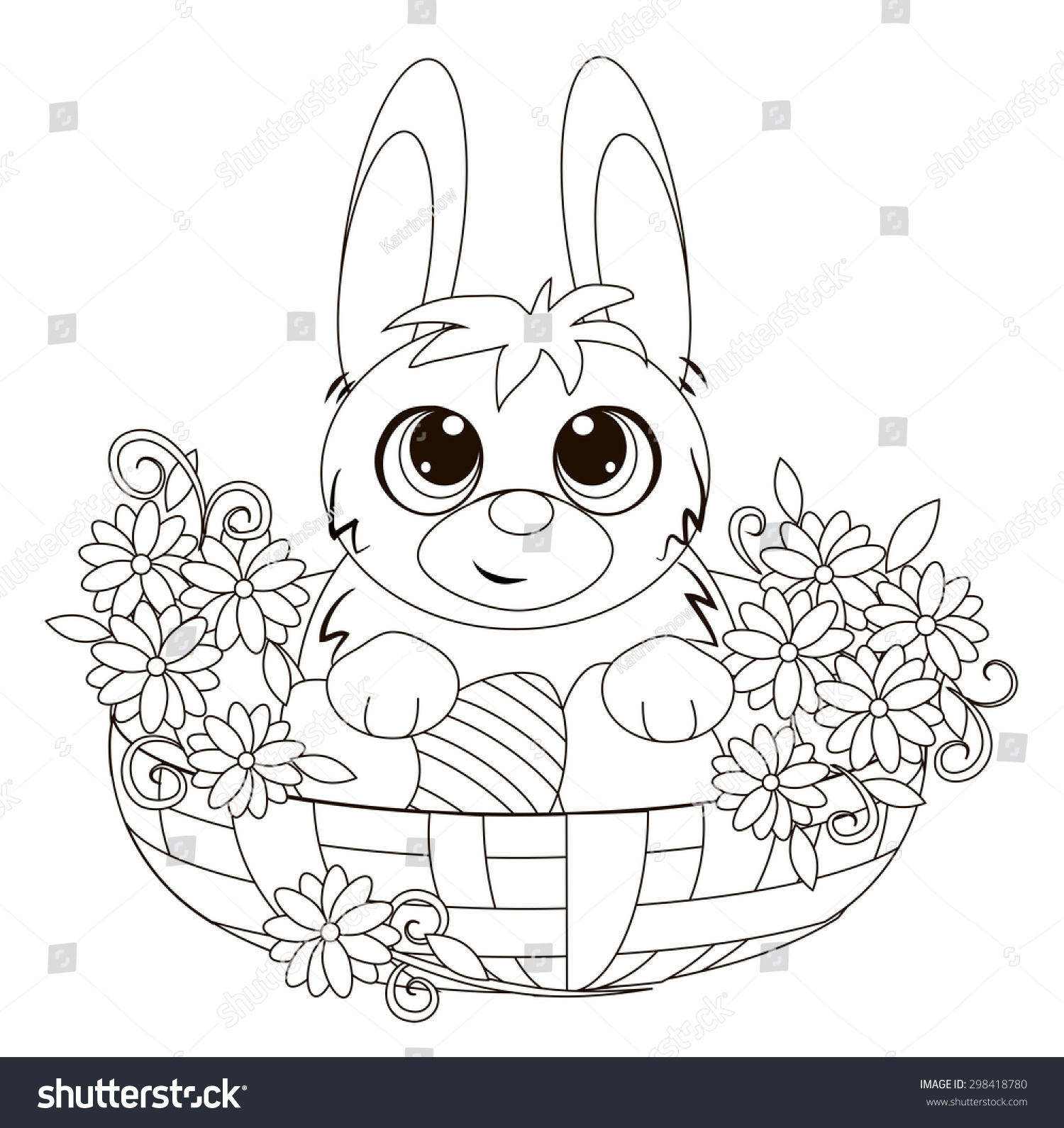 Easter Bunny Basket Coloring Book Stock Vector 298418780 - Shutterstock