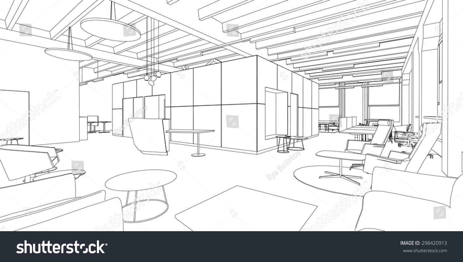 Interior Design Line Art Vector : Line drawing of the office interior on a white background