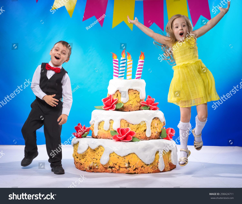 Children jump for joy