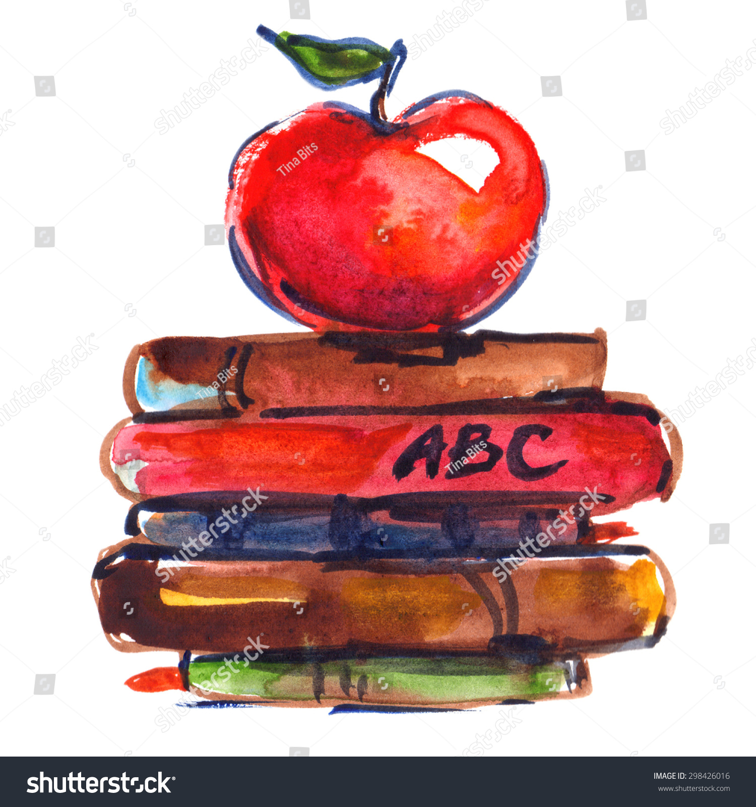 Big Stack Books Red Apple On Stock Illustration 298426016 ...