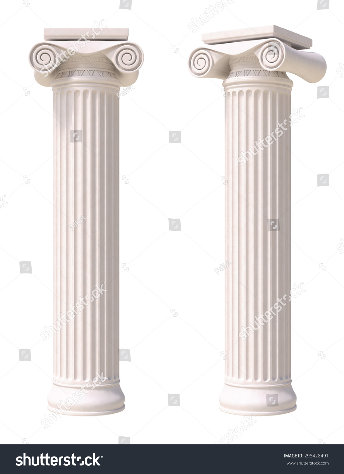 Antique Columns Greek Style Front Side Stock Illustration ...