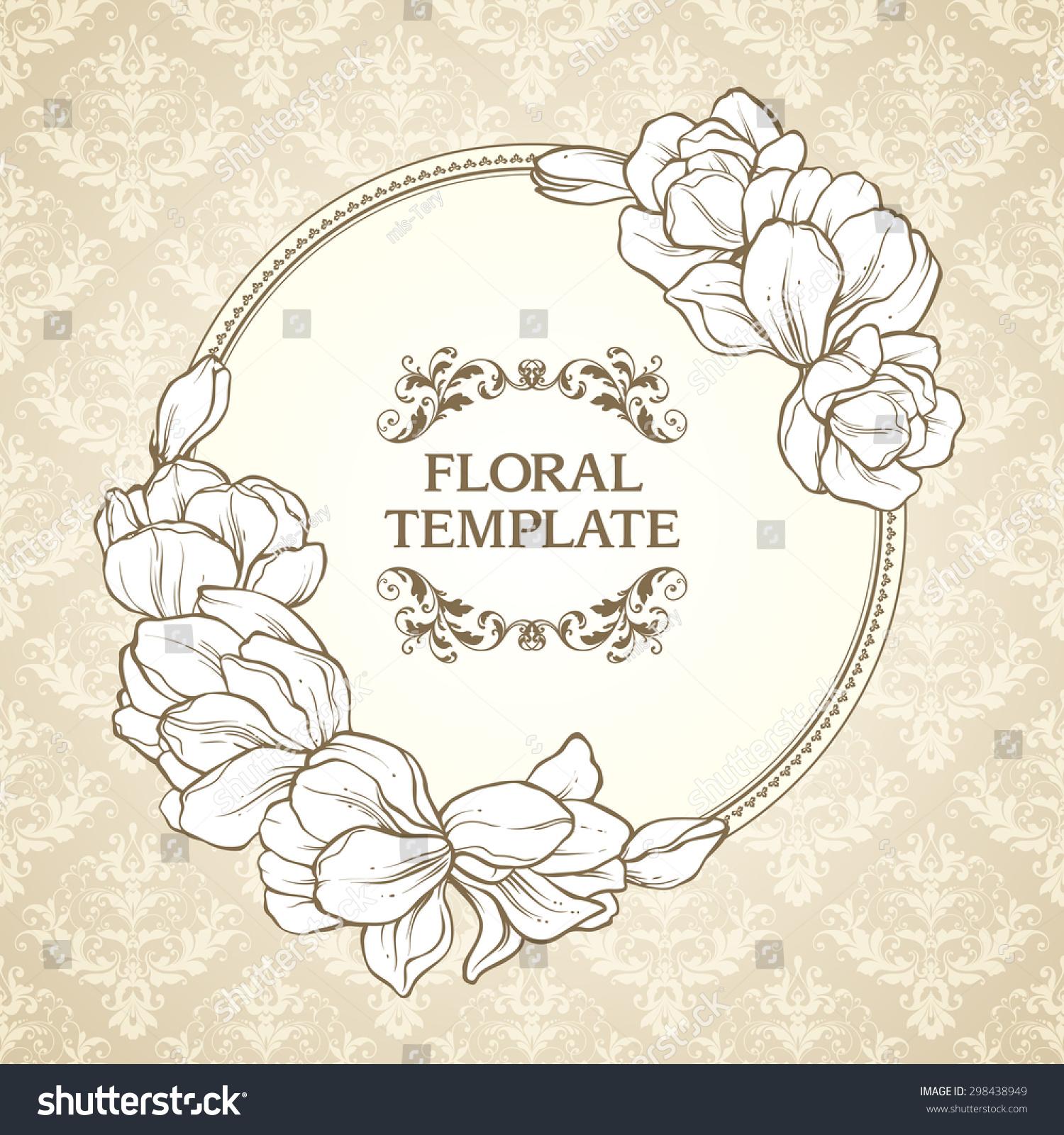 Vintage Floral Round Frame And Patterned Background Elegant Flowers