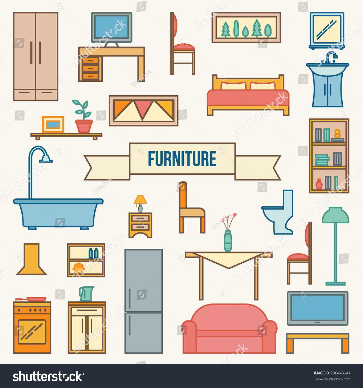 House outline with rooms - Furniture Set For Rooms Of House Outline Style Vector Illustration