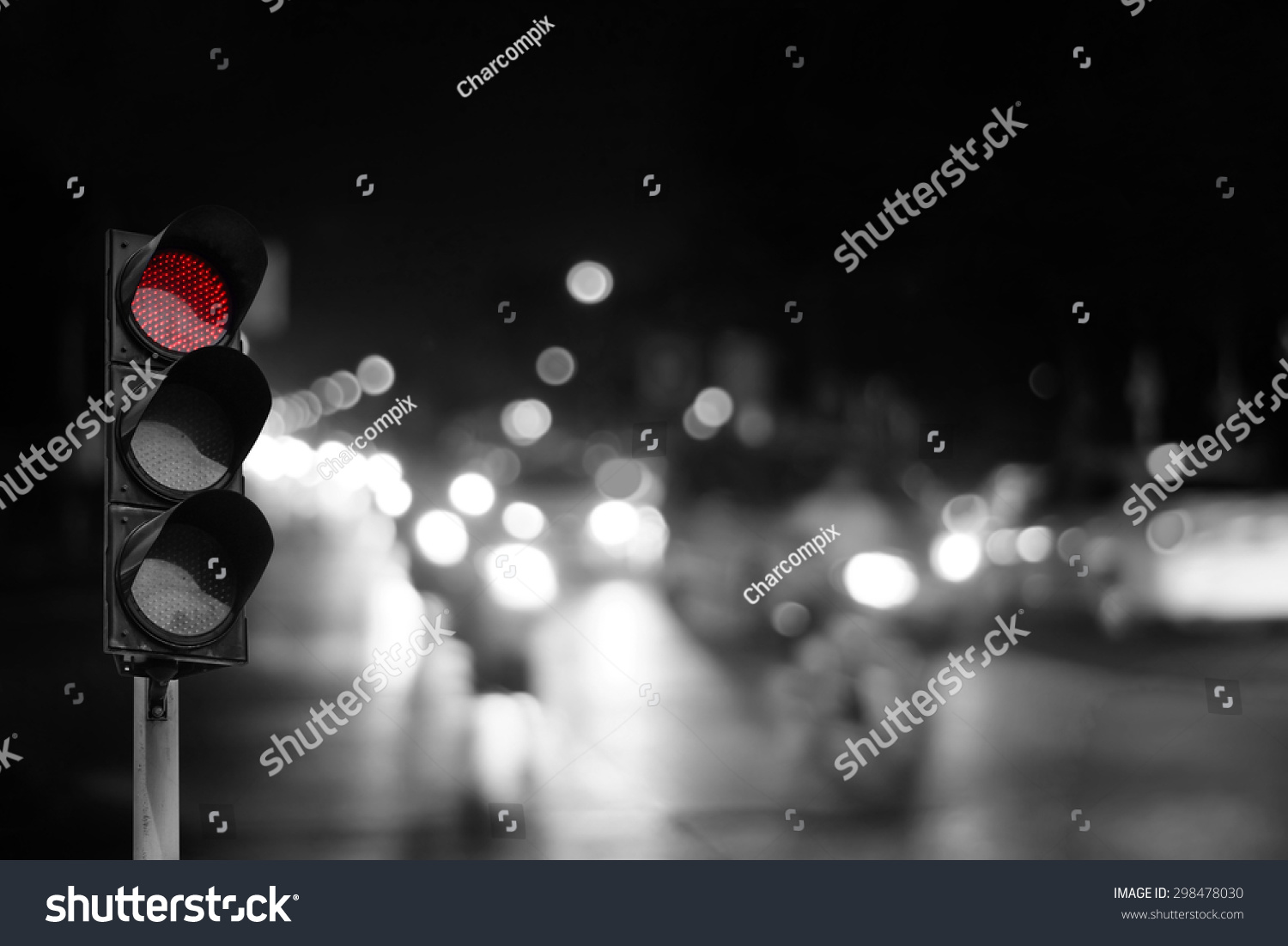 Red Traffic Light On Road Night Stock Photo 298478030 - Shutterstock for Traffic Light On Road At Night  239wja