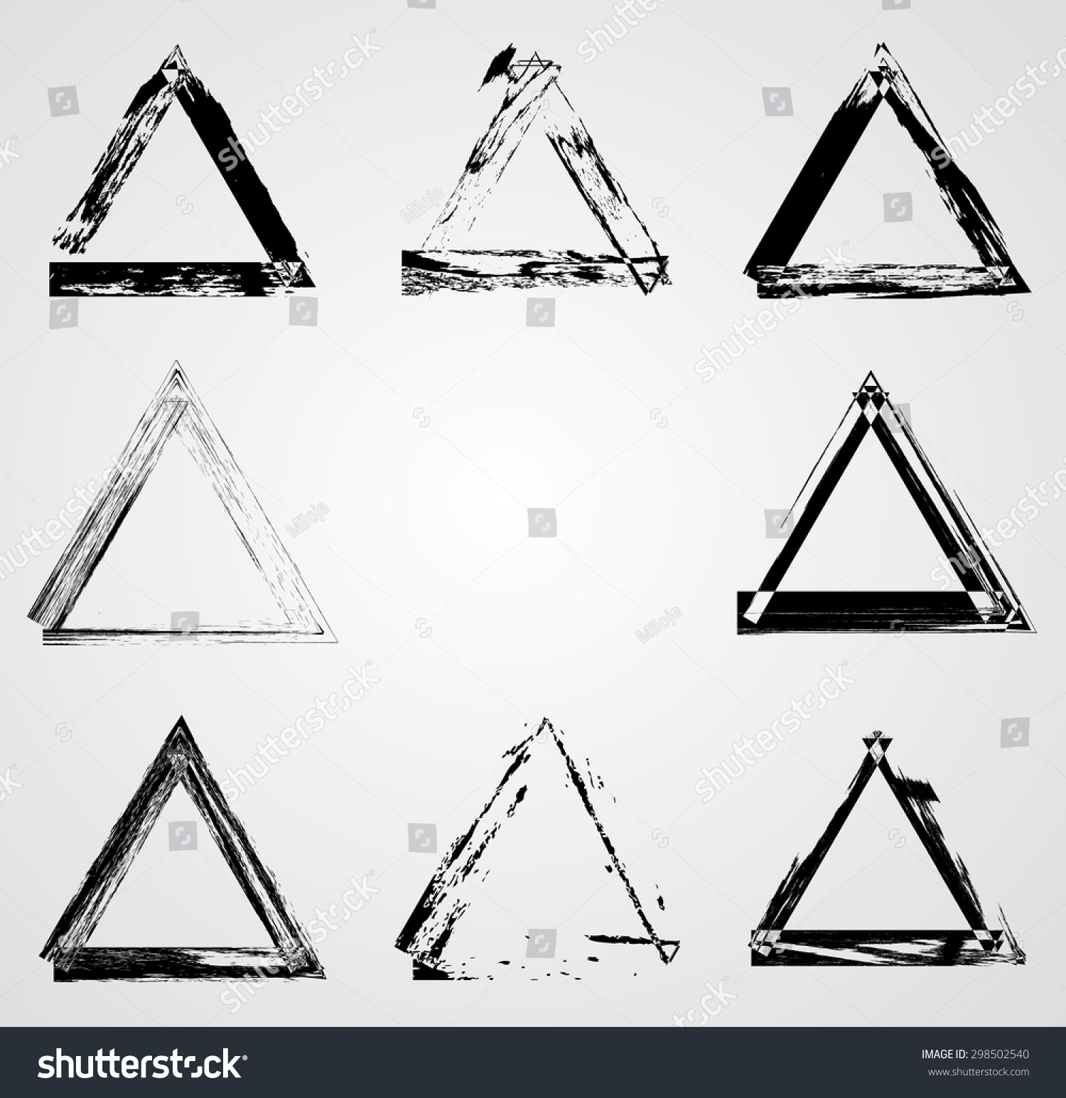 Triangle Frame Brush Stroke Gunge Elements Stock Vector 298502540 ...