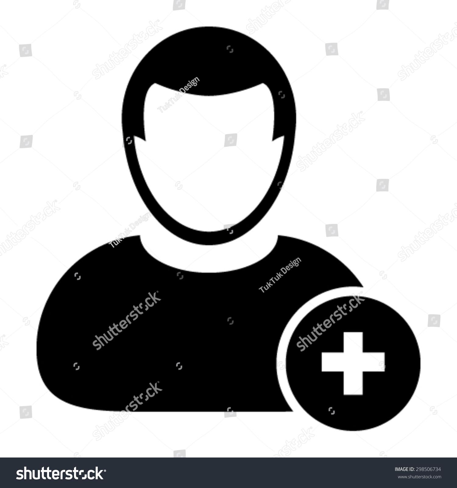 Person Icon Vector Plus Symbol Add Stock Vector Royalty Free